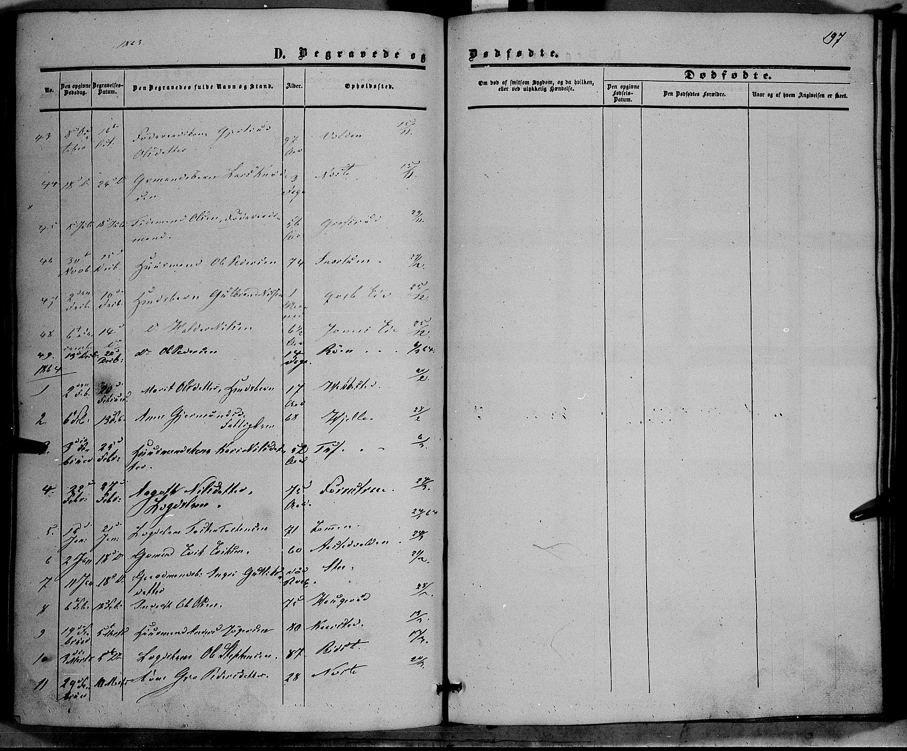 SAH, Vestre Slidre prestekontor, Ministerialbok nr. 2, 1856-1864, s. 197
