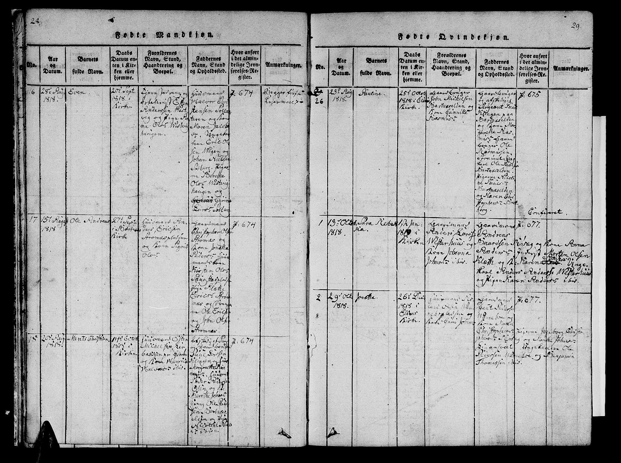 SAT, Ministerialprotokoller, klokkerbøker og fødselsregistre - Nord-Trøndelag, 741/L0400: Klokkerbok nr. 741C01, 1817-1825, s. 28-29