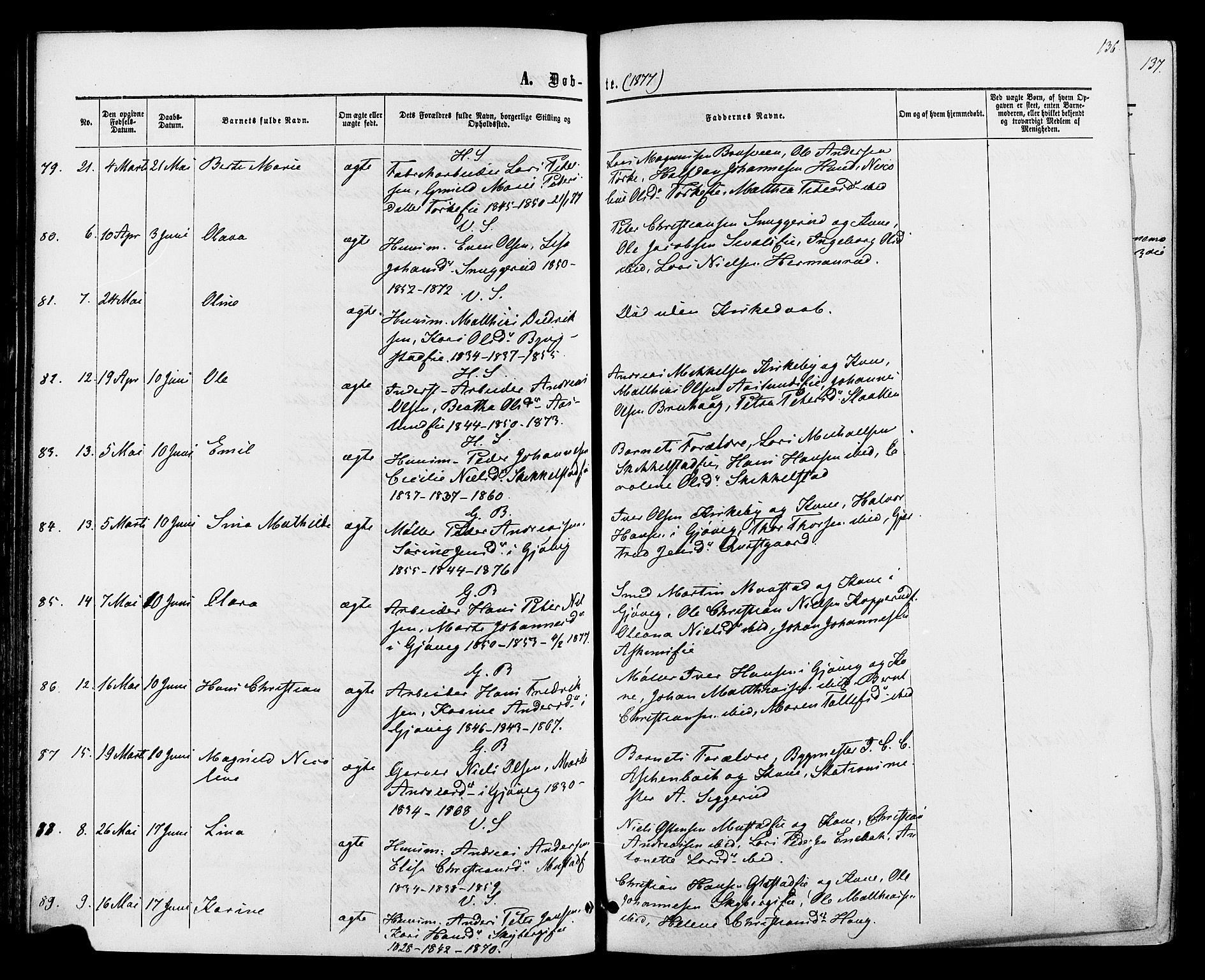 SAH, Vardal prestekontor, H/Ha/Haa/L0007: Ministerialbok nr. 7, 1867-1878, s. 136
