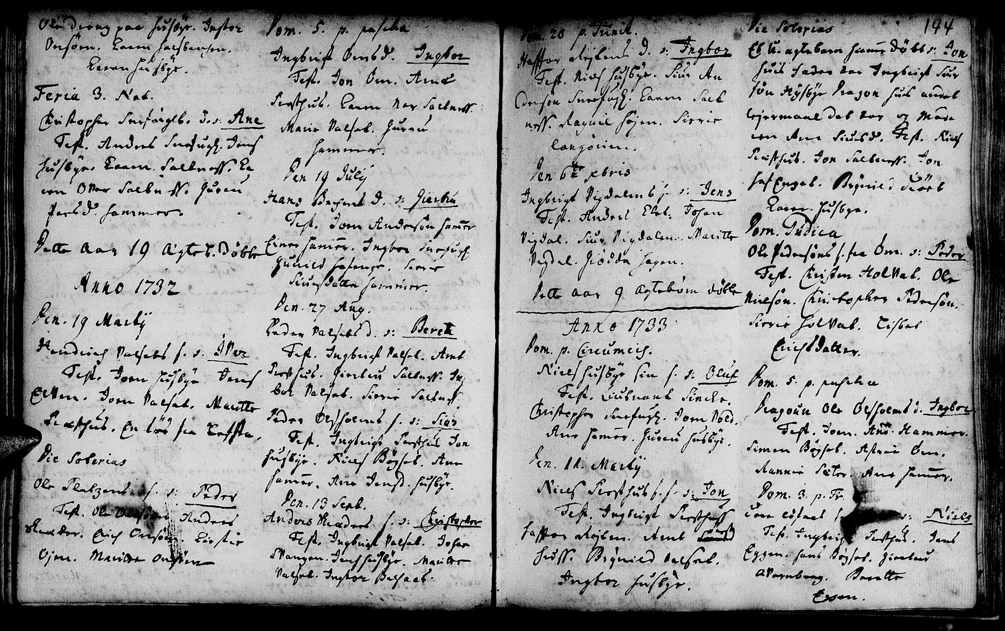 SAT, Ministerialprotokoller, klokkerbøker og fødselsregistre - Sør-Trøndelag, 666/L0783: Ministerialbok nr. 666A01, 1702-1753, s. 144