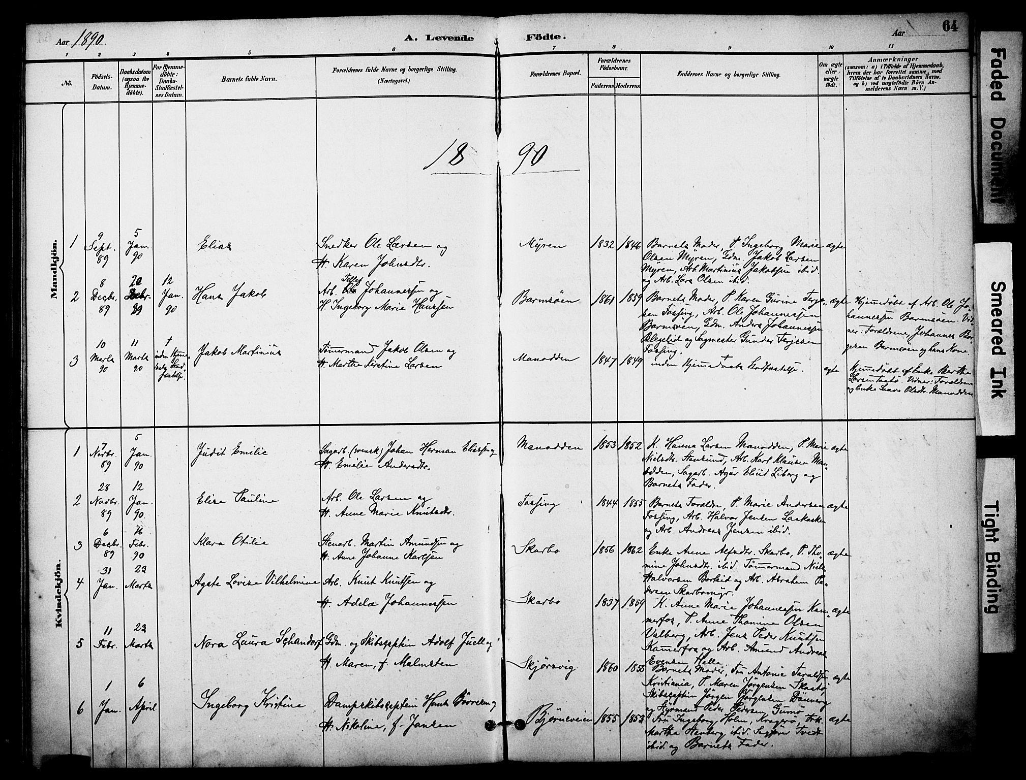SAKO, Skåtøy kirkebøker, F/Fa/L0002: Ministerialbok nr. I 2, 1884-1899, s. 64