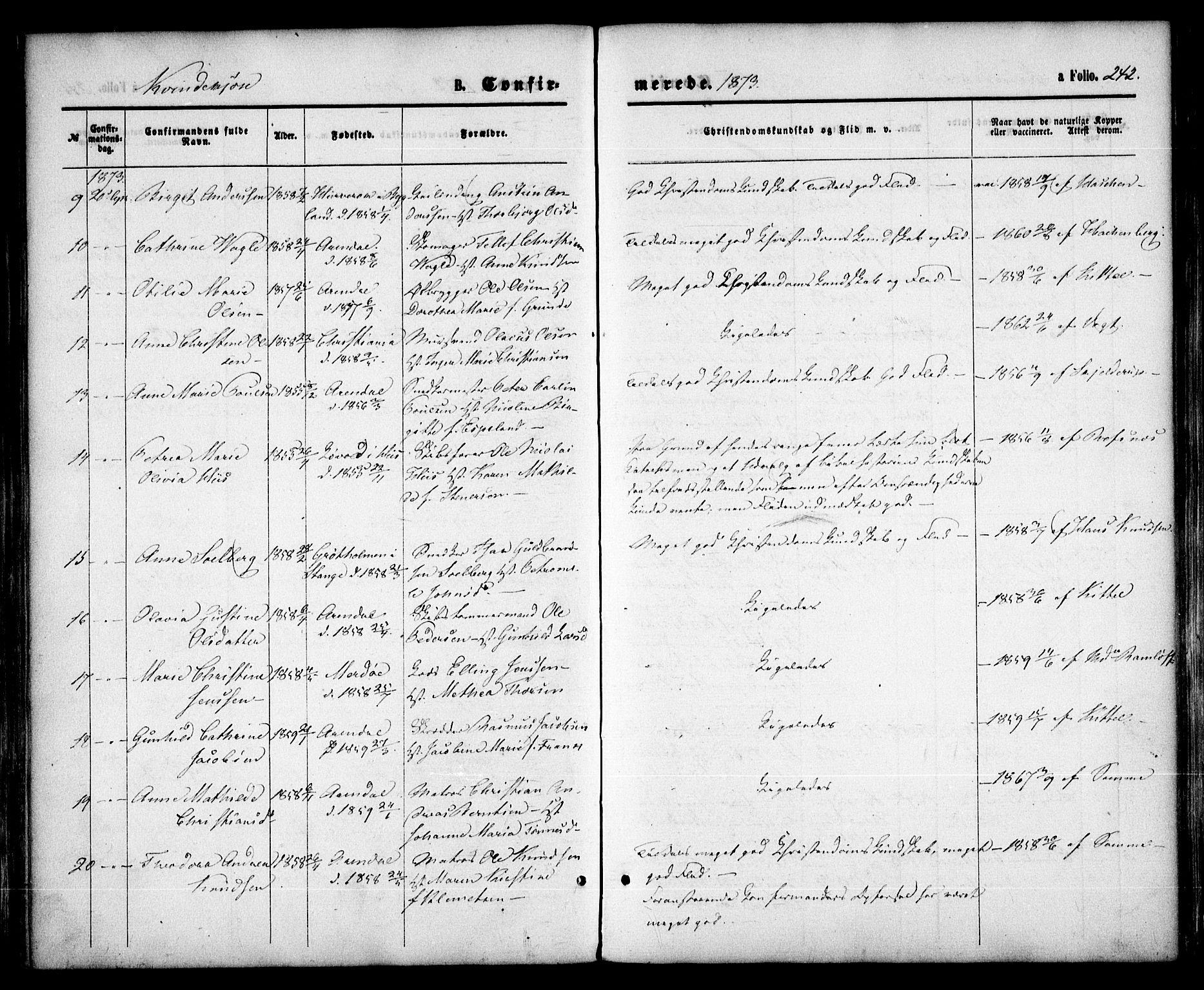 SAK, Arendal sokneprestkontor, Trefoldighet, F/Fa/L0007: Ministerialbok nr. A 7, 1868-1878, s. 242