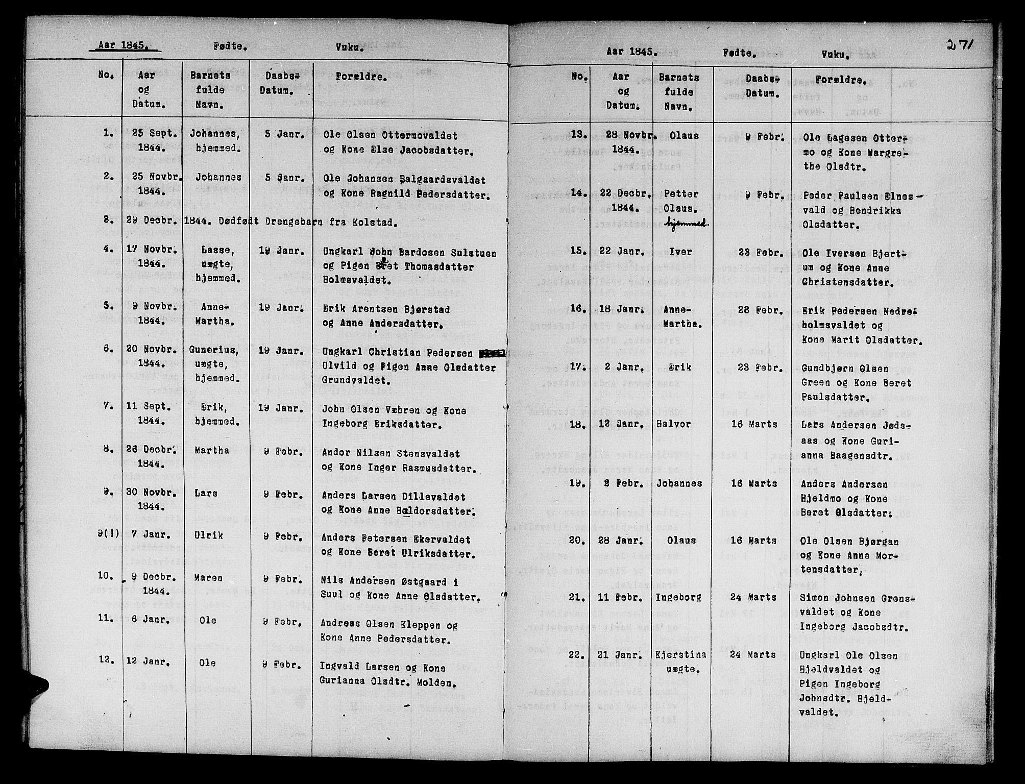 SAT, Ministerialprotokoller, klokkerbøker og fødselsregistre - Nord-Trøndelag, 724/L0265: Klokkerbok nr. 724C01, 1816-1845, s. 271