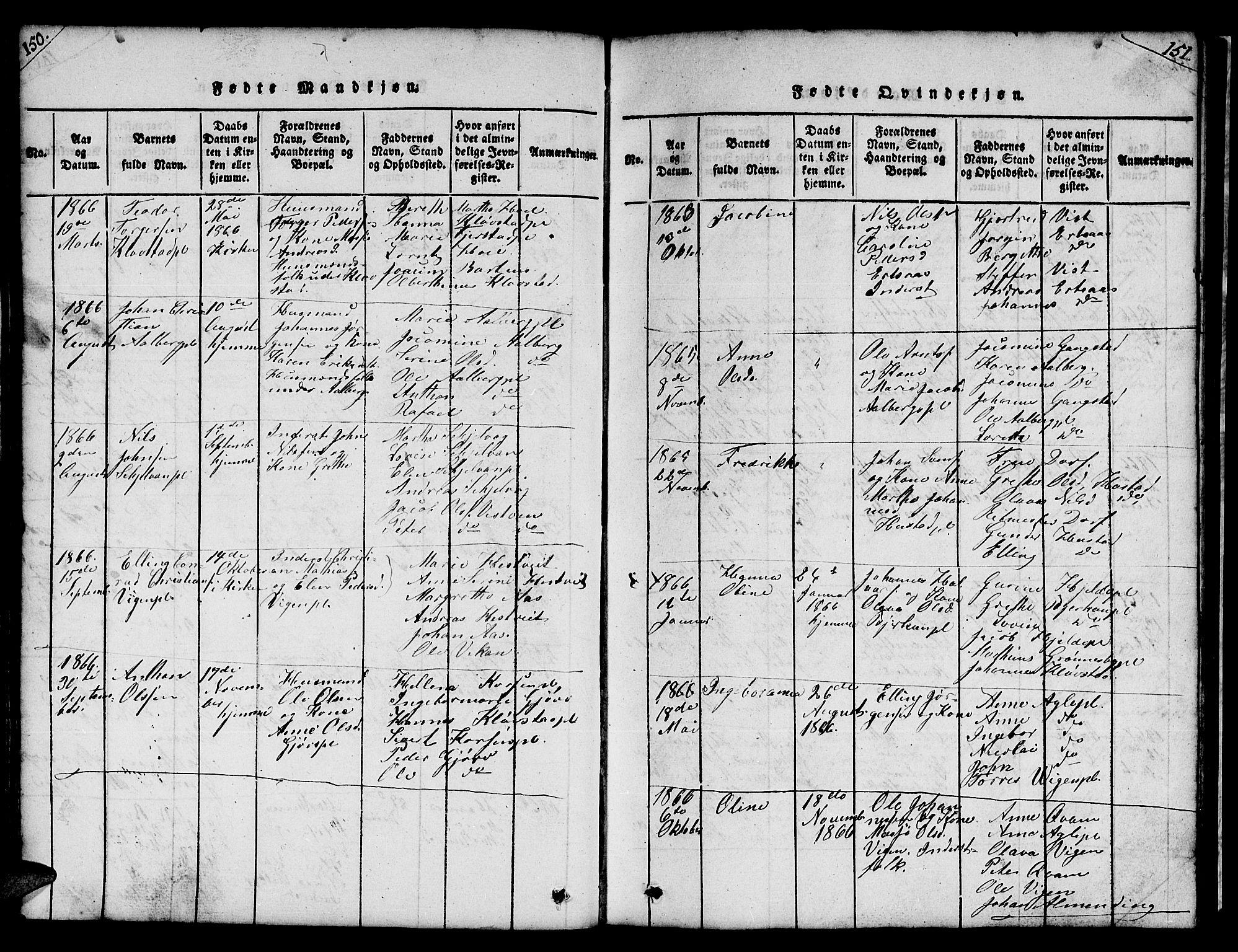 SAT, Ministerialprotokoller, klokkerbøker og fødselsregistre - Nord-Trøndelag, 732/L0317: Klokkerbok nr. 732C01, 1816-1881, s. 150-151