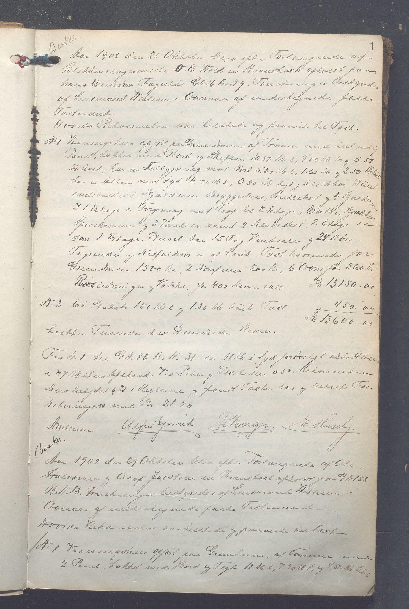 OBA, Lensmennene i Aker, F/Fc/L0008: Branntakstprotokoll, 1902-1911, s. 1a