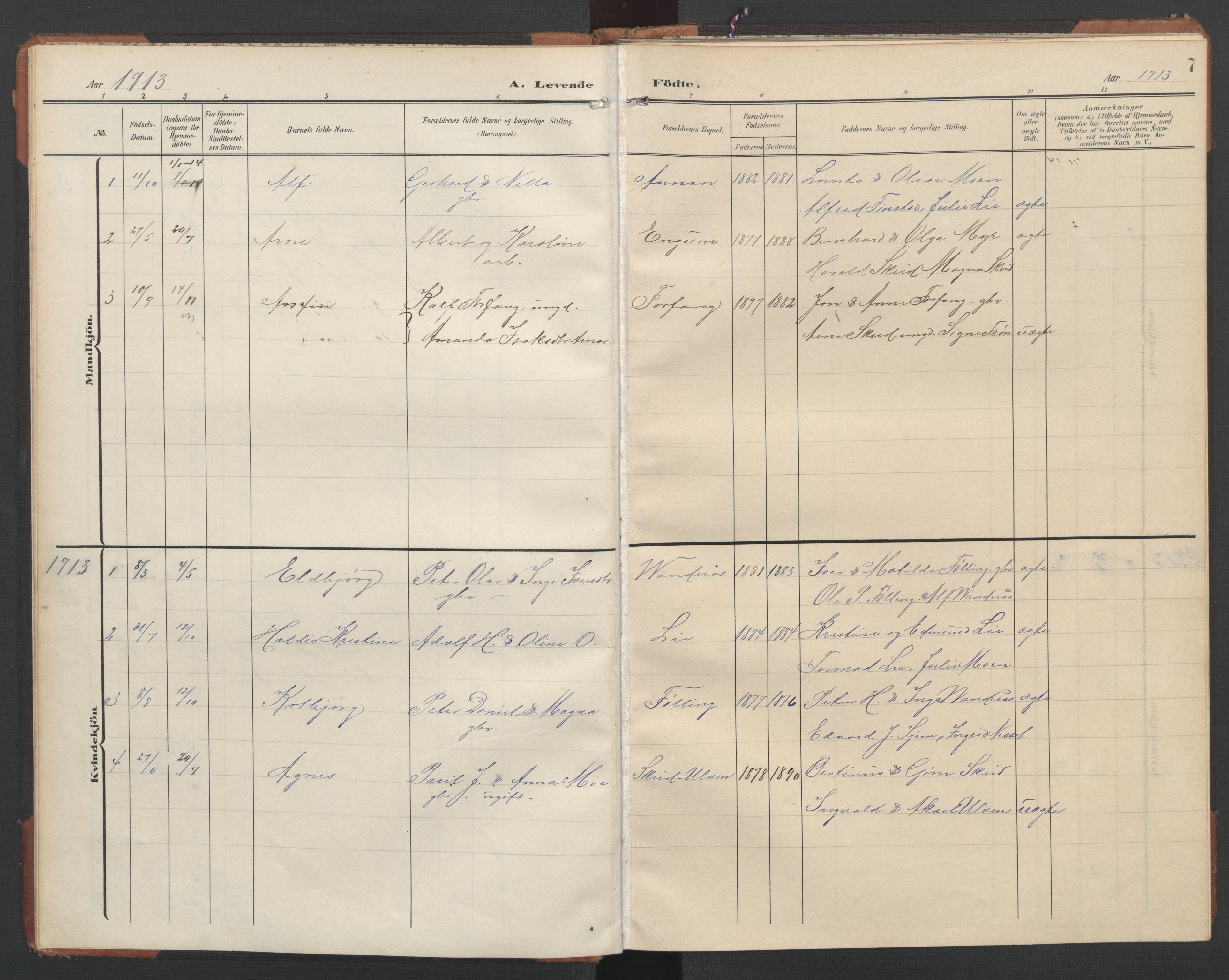 SAT, Ministerialprotokoller, klokkerbøker og fødselsregistre - Nord-Trøndelag, 748/L0465: Klokkerbok nr. 748C01, 1908-1960, s. 7