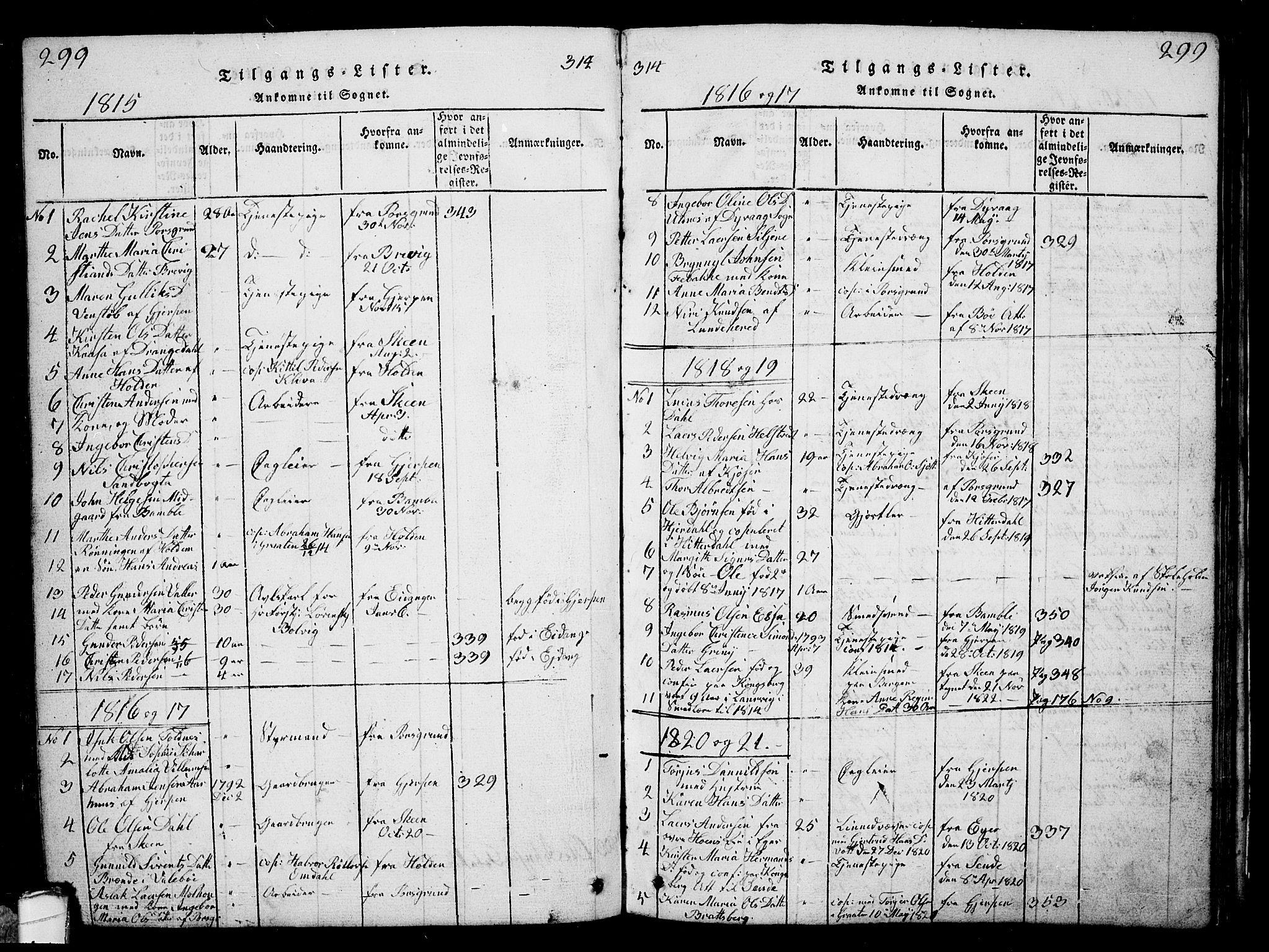SAKO, Solum kirkebøker, G/Ga/L0001: Klokkerbok nr. I 1, 1814-1833, s. 299