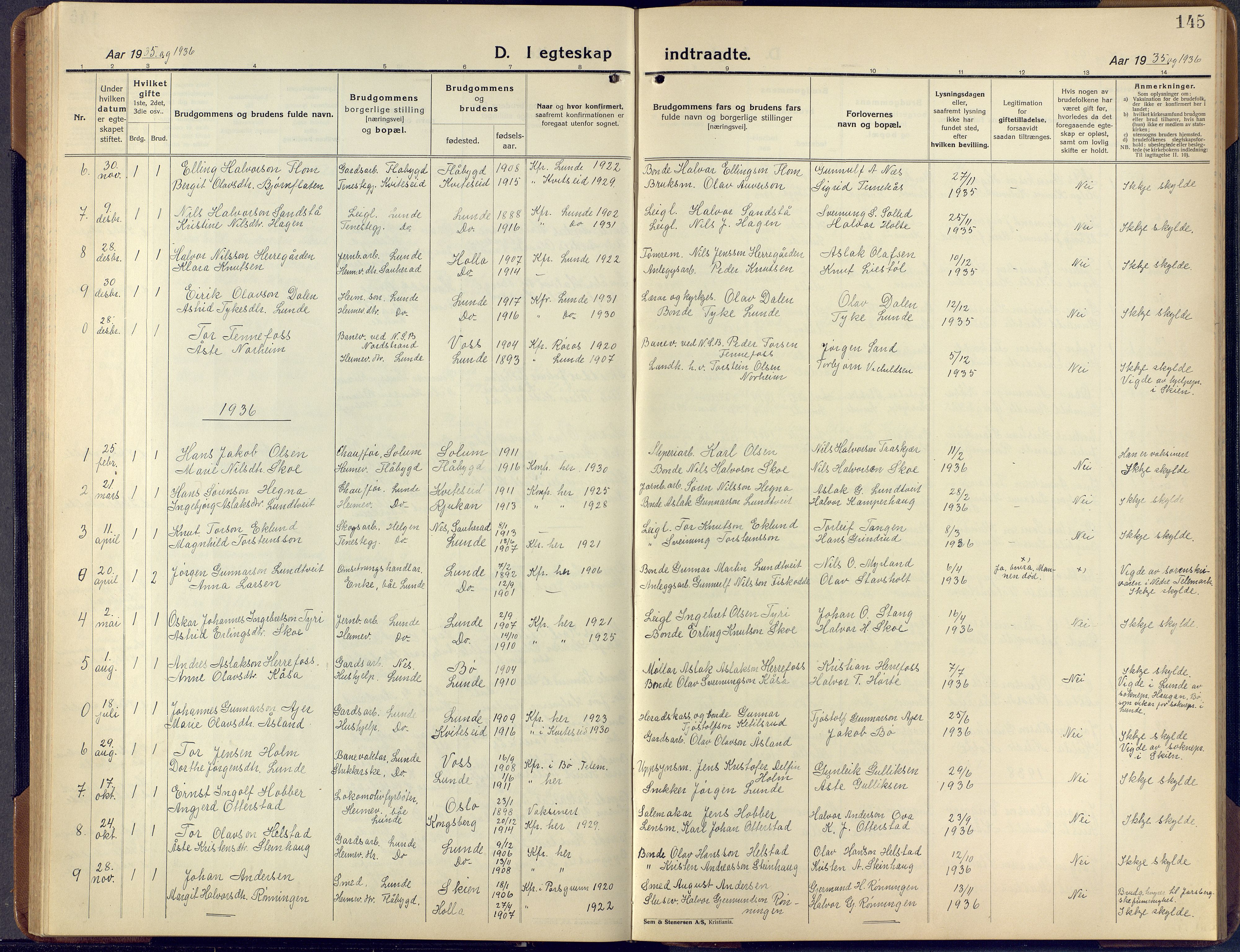SAKO, Lunde kirkebøker, F/Fa/L0006: Ministerialbok nr. I 6, 1922-1940, s. 145