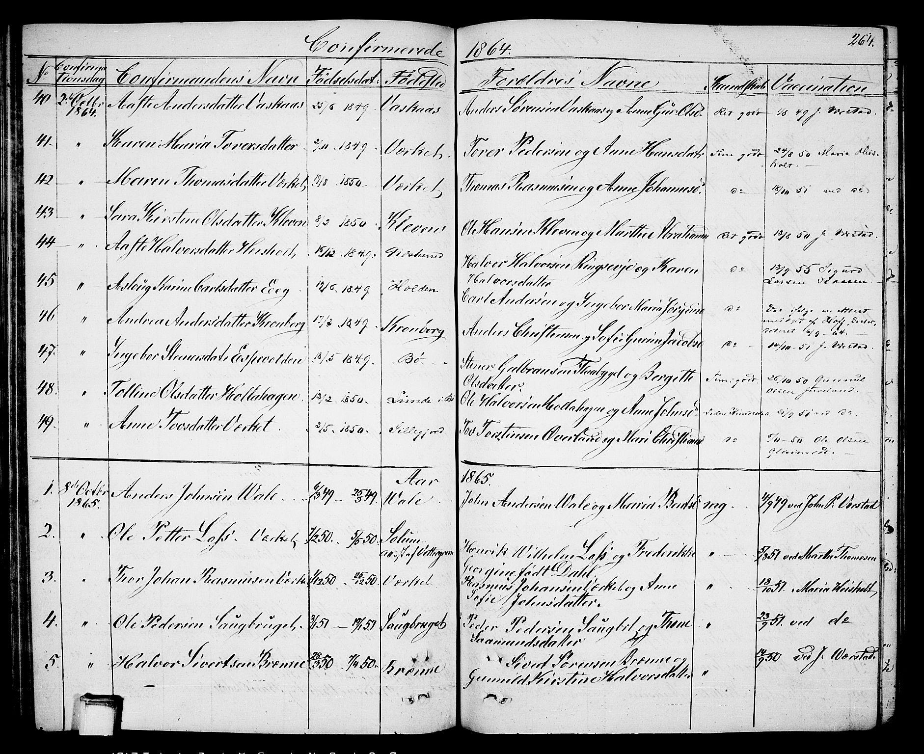 SAKO, Holla kirkebøker, G/Ga/L0003: Klokkerbok nr. I 3, 1849-1866, s. 264