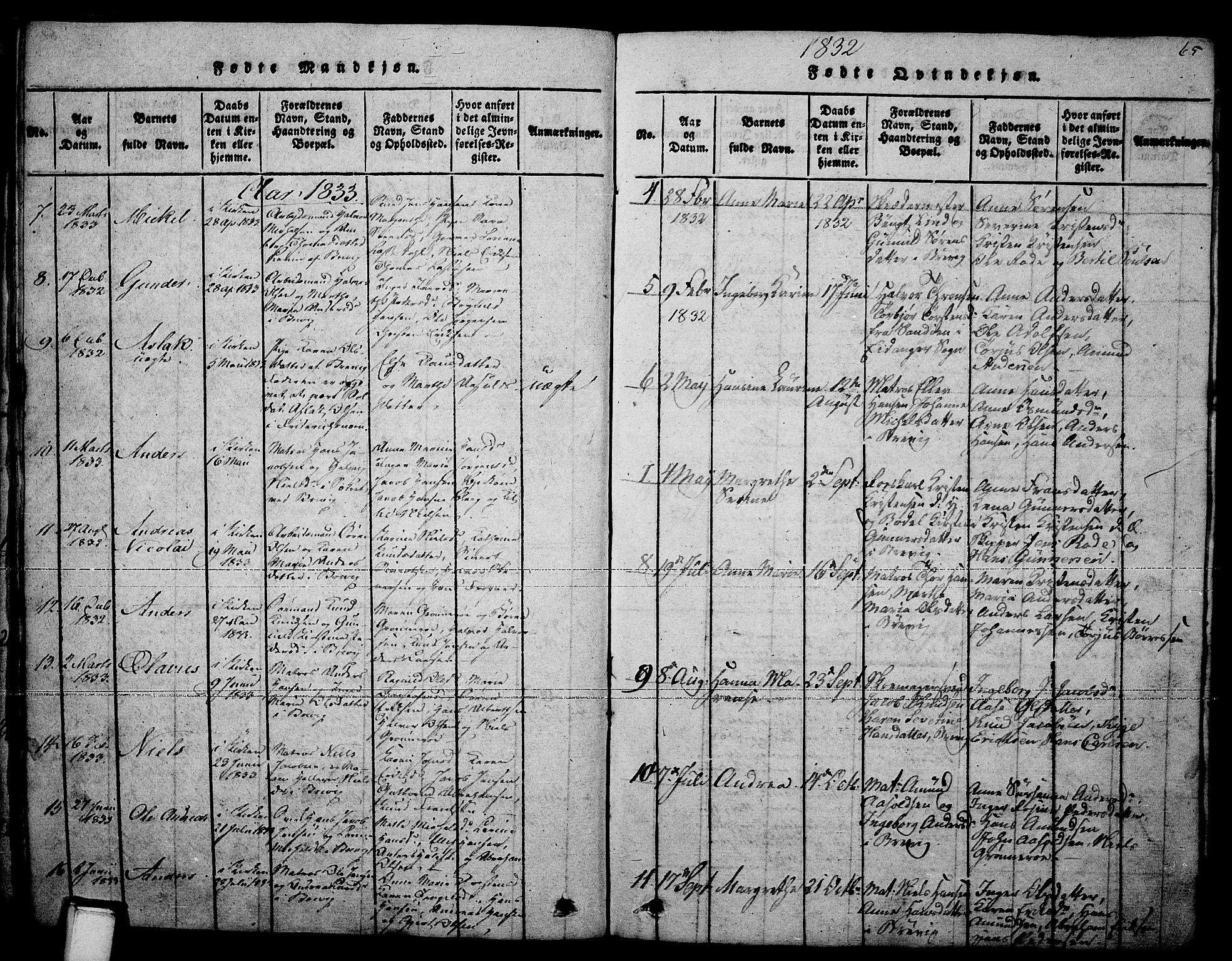 SAKO, Brevik kirkebøker, F/Fa/L0004: Ministerialbok nr. 4, 1814-1846, s. 65
