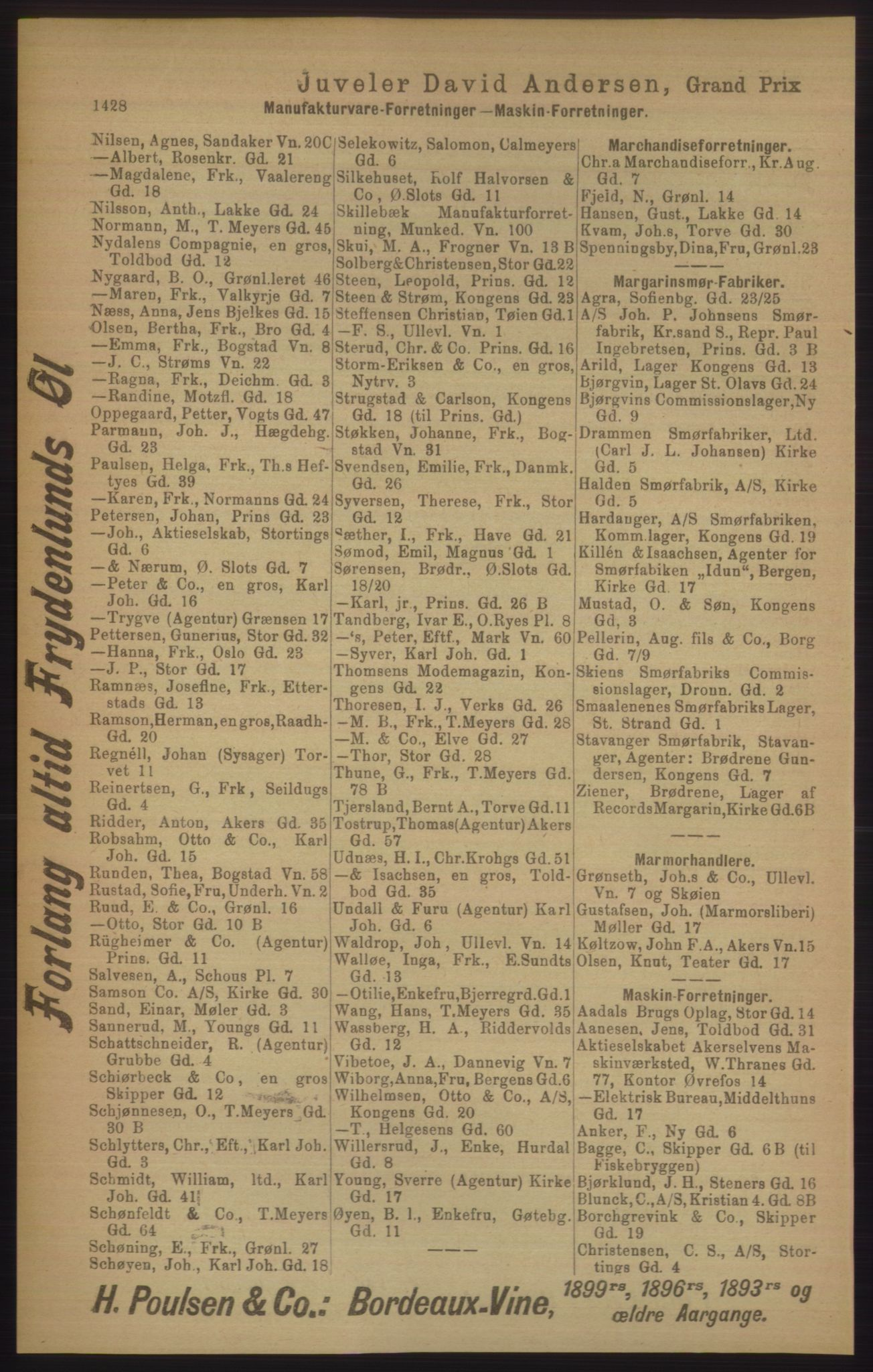 RA, Kristiania adressebok (publikasjon)*, 1906, s. 1428