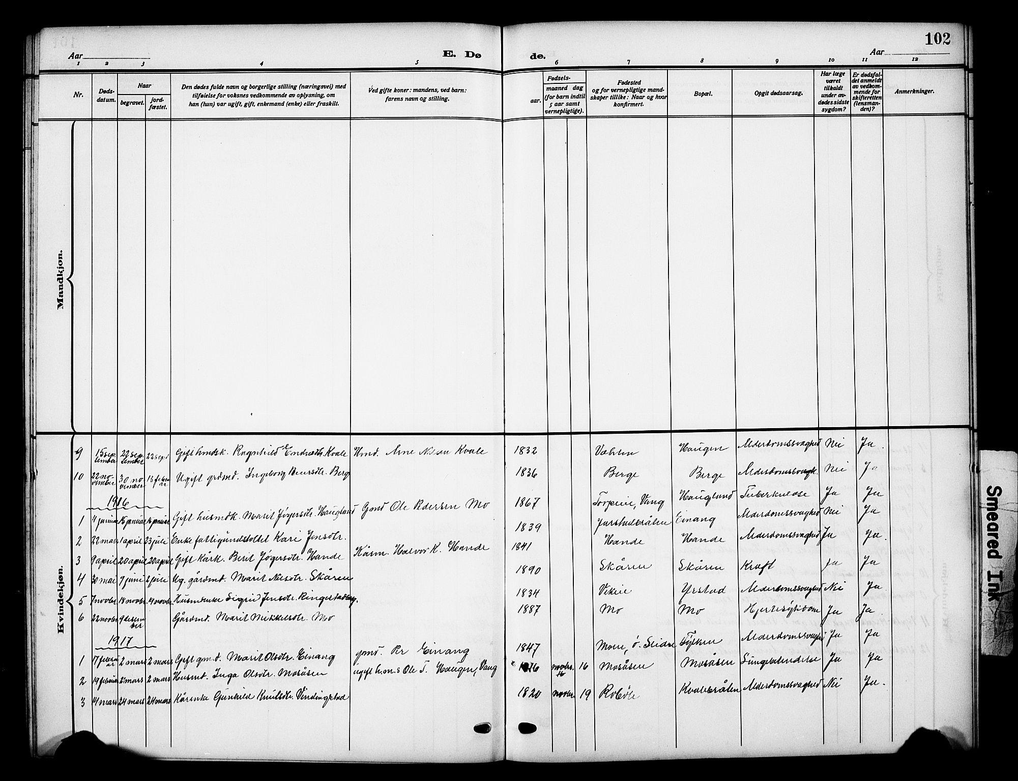 SAH, Vestre Slidre prestekontor, Klokkerbok nr. 7, 1909-1930, s. 102