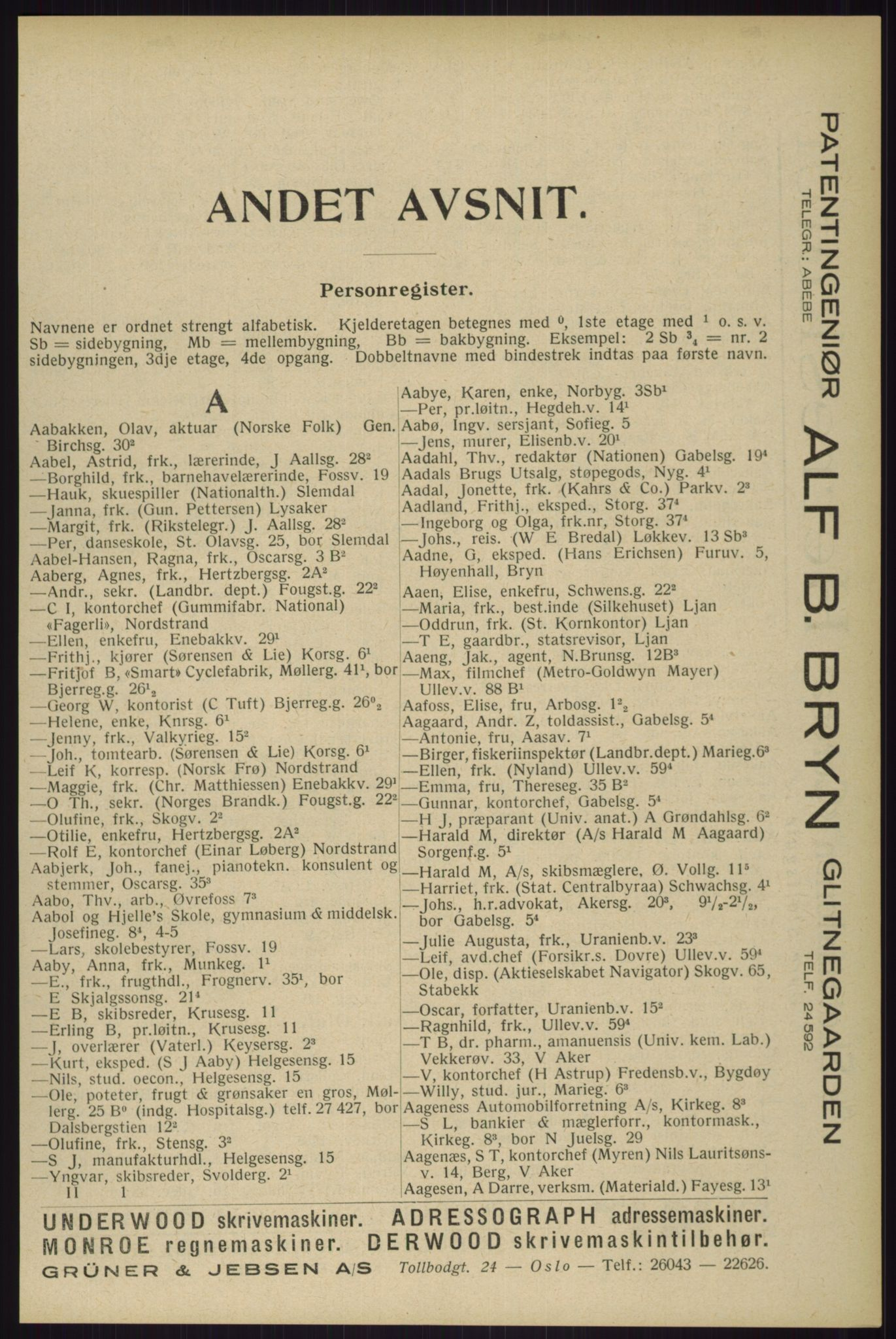RA, Oslo adressebok (publikasjon)*, 1929, s. 65