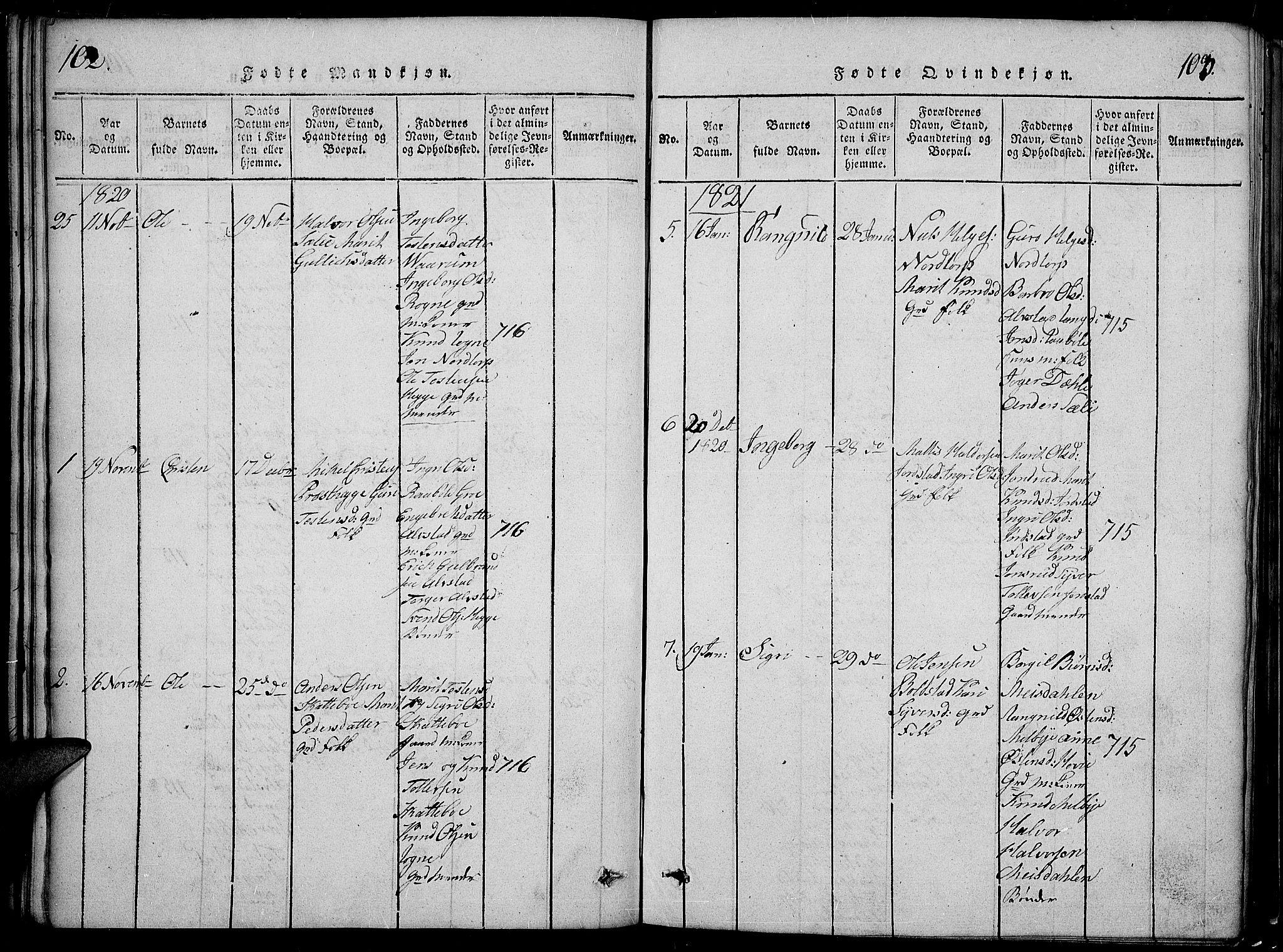 SAH, Slidre prestekontor, Klokkerbok nr. 2, 1814-1839, s. 102-103