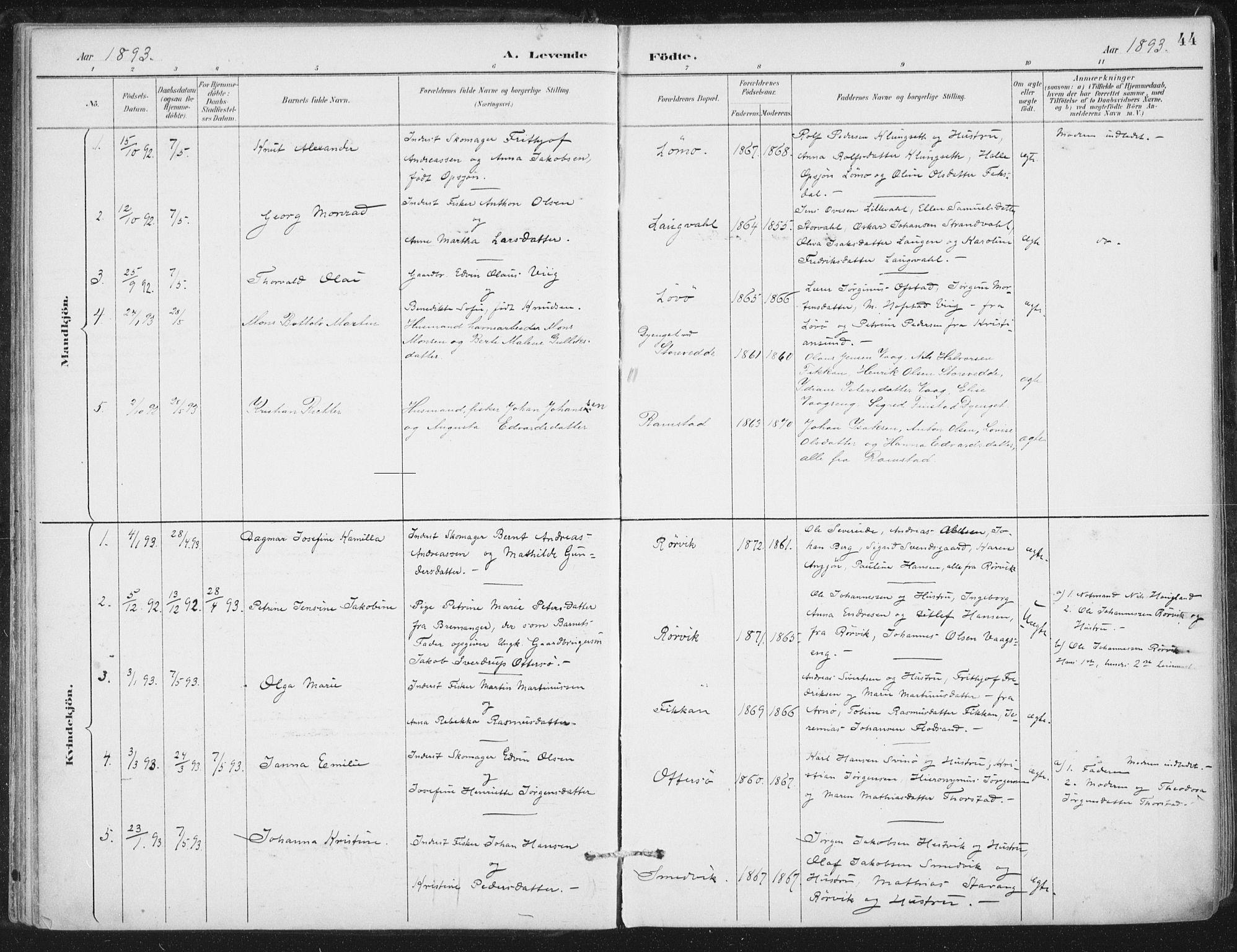 SAT, Ministerialprotokoller, klokkerbøker og fødselsregistre - Nord-Trøndelag, 784/L0673: Ministerialbok nr. 784A08, 1888-1899, s. 44