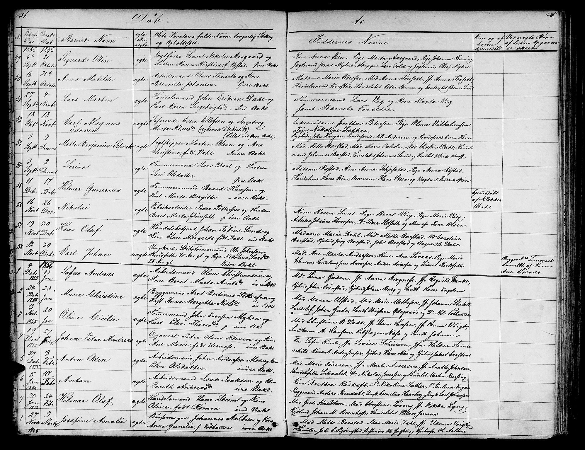 SAT, Ministerialprotokoller, klokkerbøker og fødselsregistre - Sør-Trøndelag, 604/L0219: Klokkerbok nr. 604C02, 1851-1869, s. 34-35