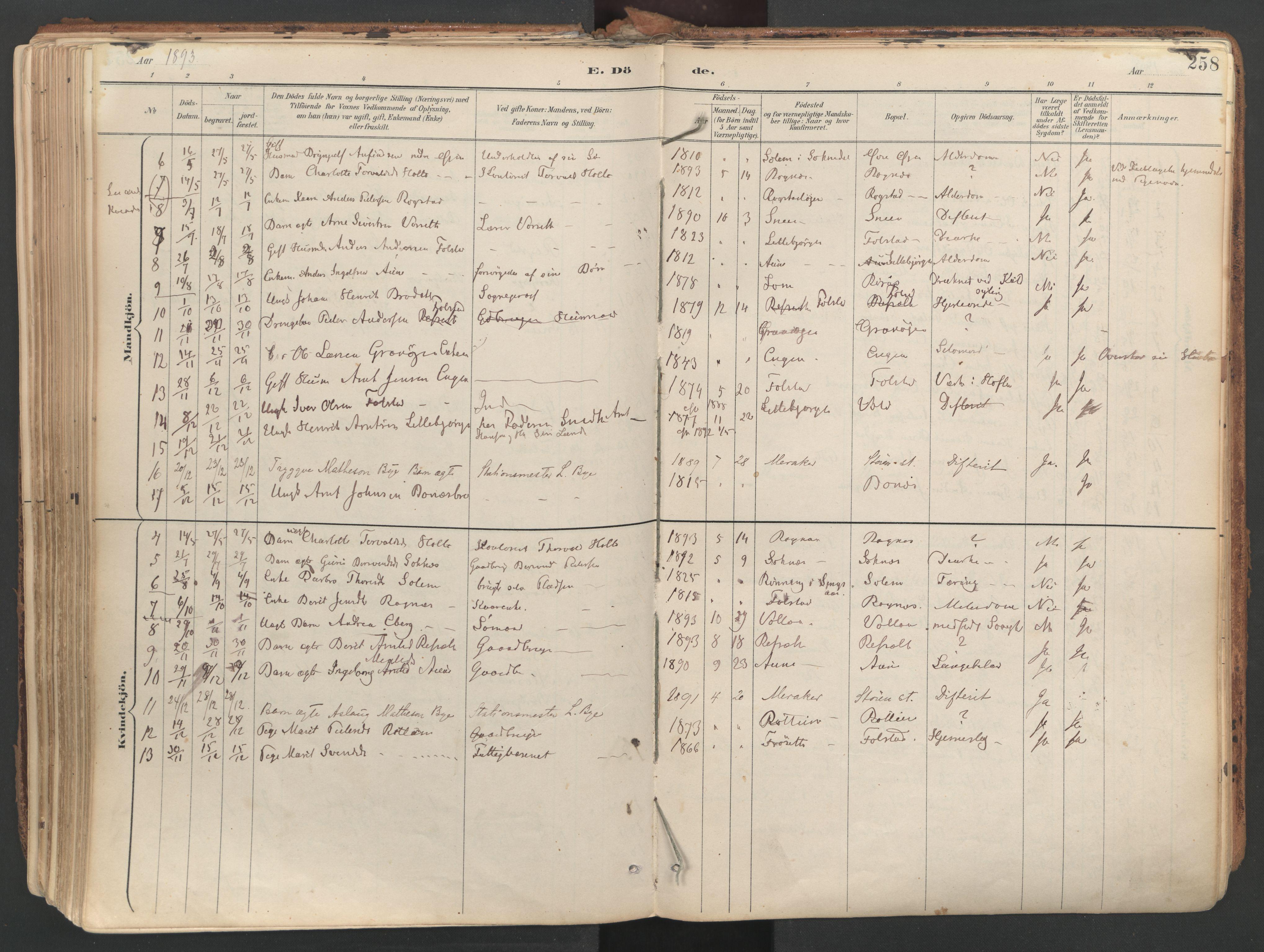 SAT, Ministerialprotokoller, klokkerbøker og fødselsregistre - Sør-Trøndelag, 687/L1004: Ministerialbok nr. 687A10, 1891-1923, s. 258