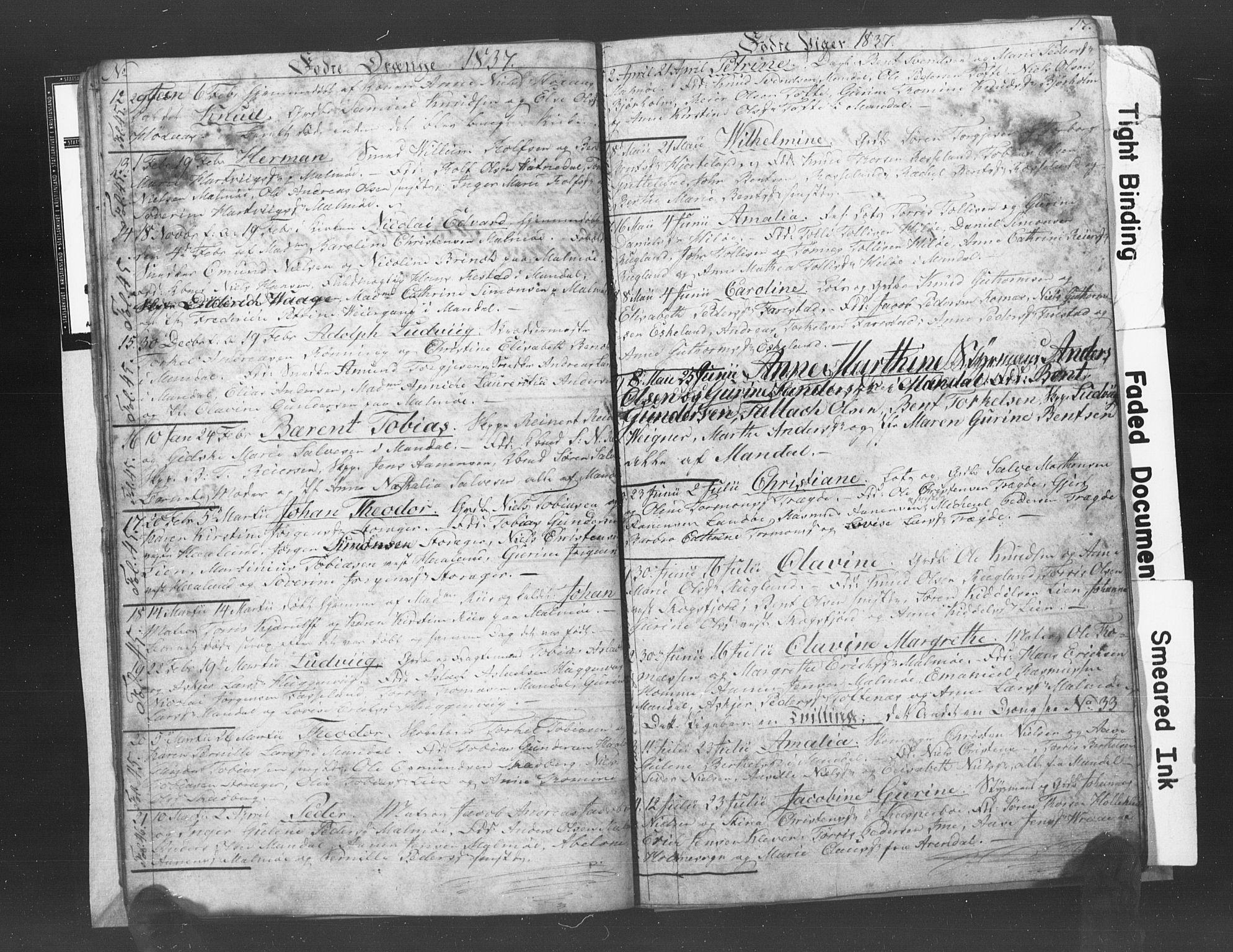SAK, Mandal sokneprestkontor, F/Fb/Fba/L0003: Klokkerbok nr. B 1C, 1834-1838, s. 17