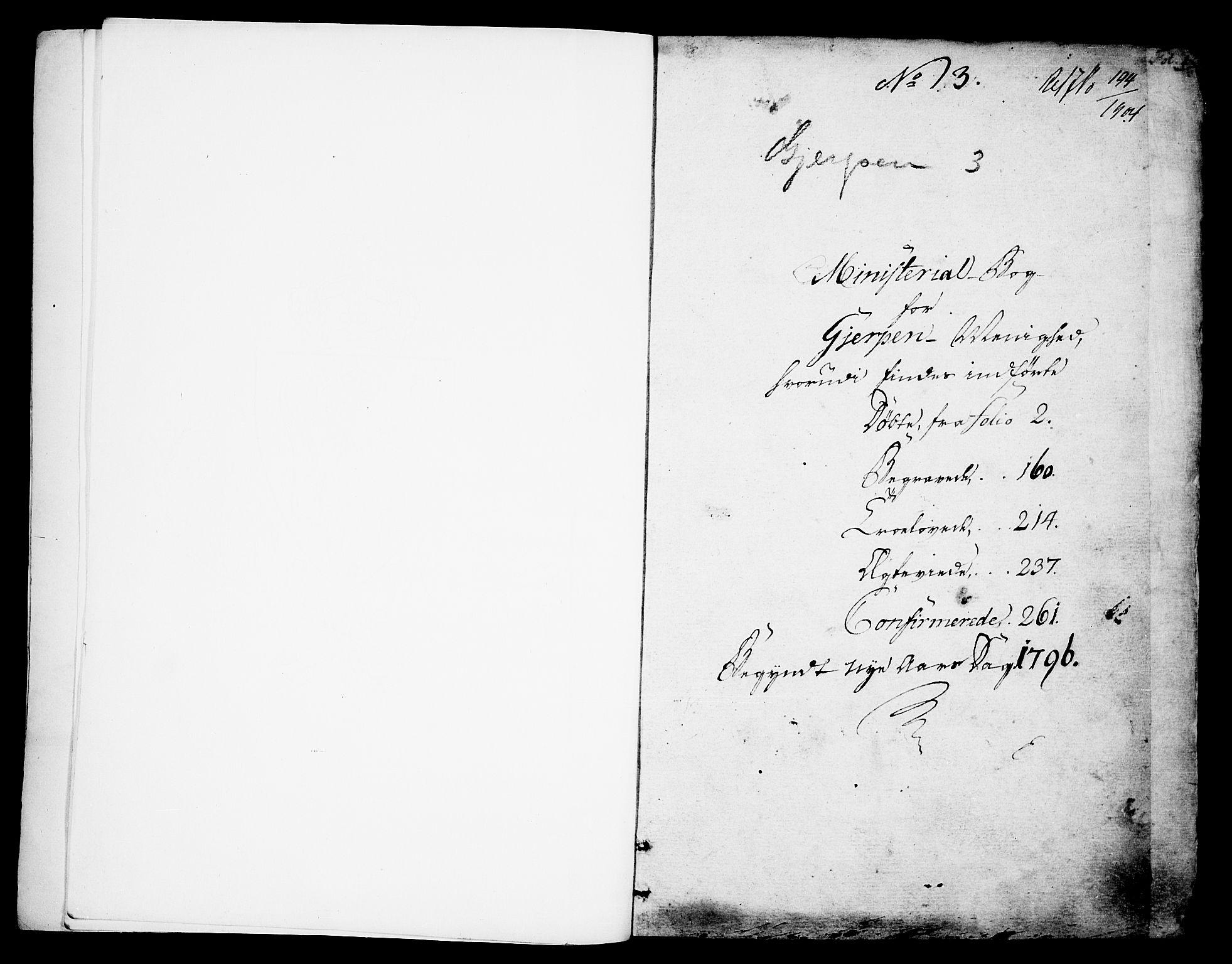 SAKO, Gjerpen kirkebøker, F/Fa/L0003: Ministerialbok nr. 3, 1796-1814, s. 1