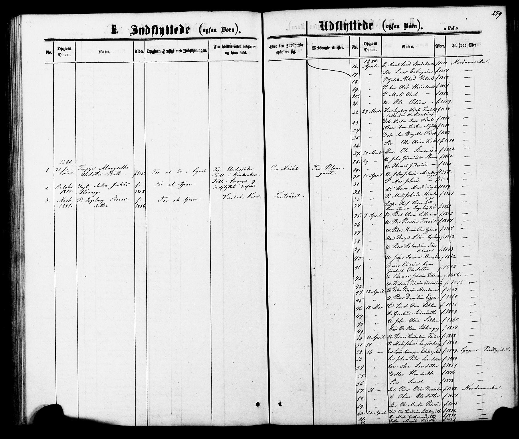 SAT, Ministerialprotokoller, klokkerbøker og fødselsregistre - Nord-Trøndelag, 706/L0049: Klokkerbok nr. 706C01, 1864-1895, s. 259