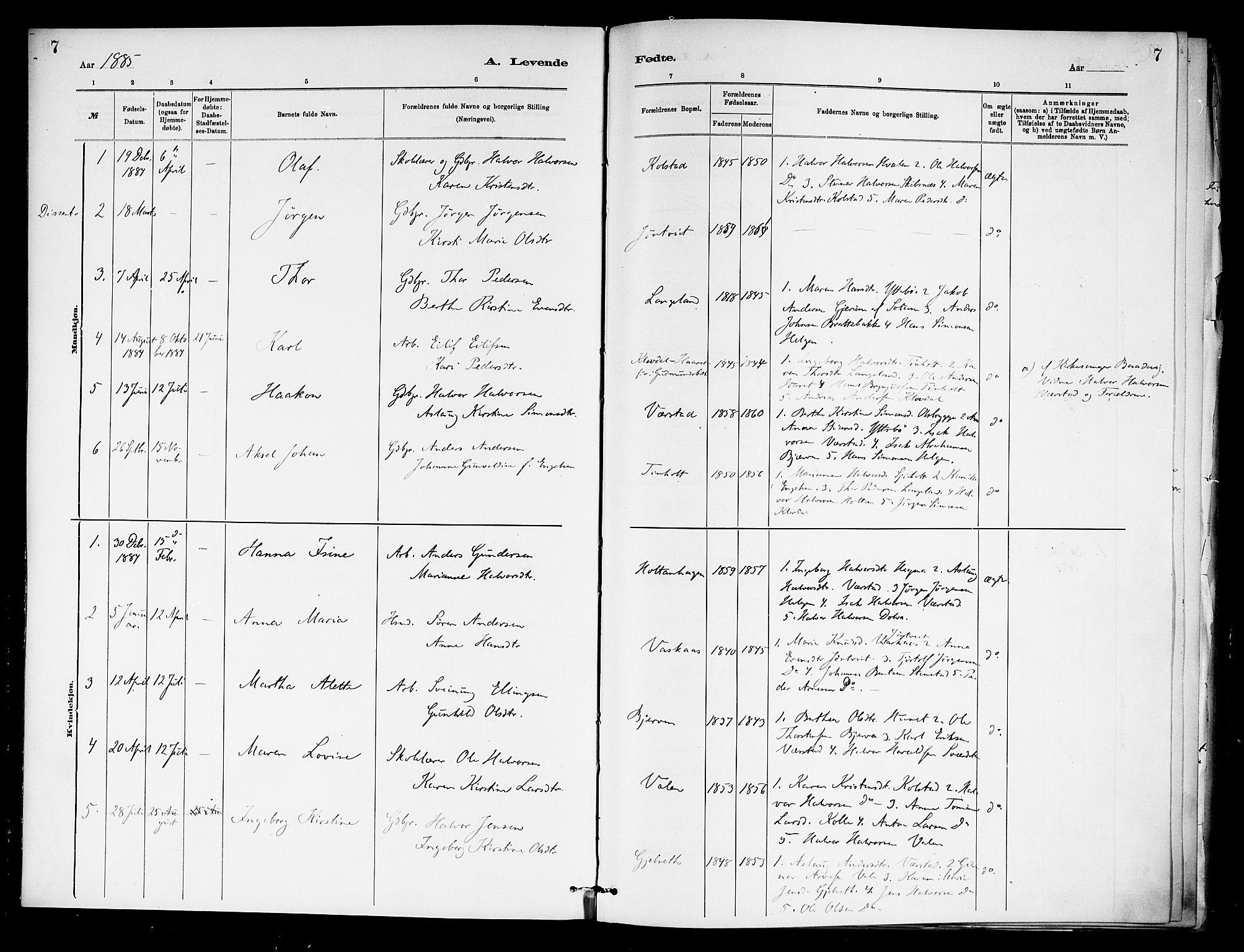 SAKO, Holla kirkebøker, F/Fa/L0009: Ministerialbok nr. 9, 1881-1897, s. 7