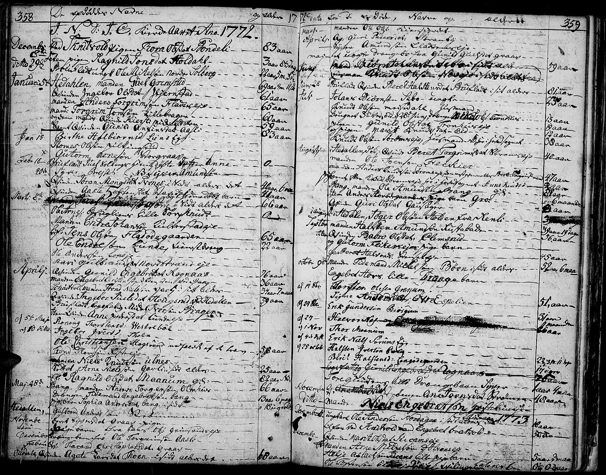 SAH, Aurdal prestekontor, Ministerialbok nr. 5, 1763-1781, s. 358-359