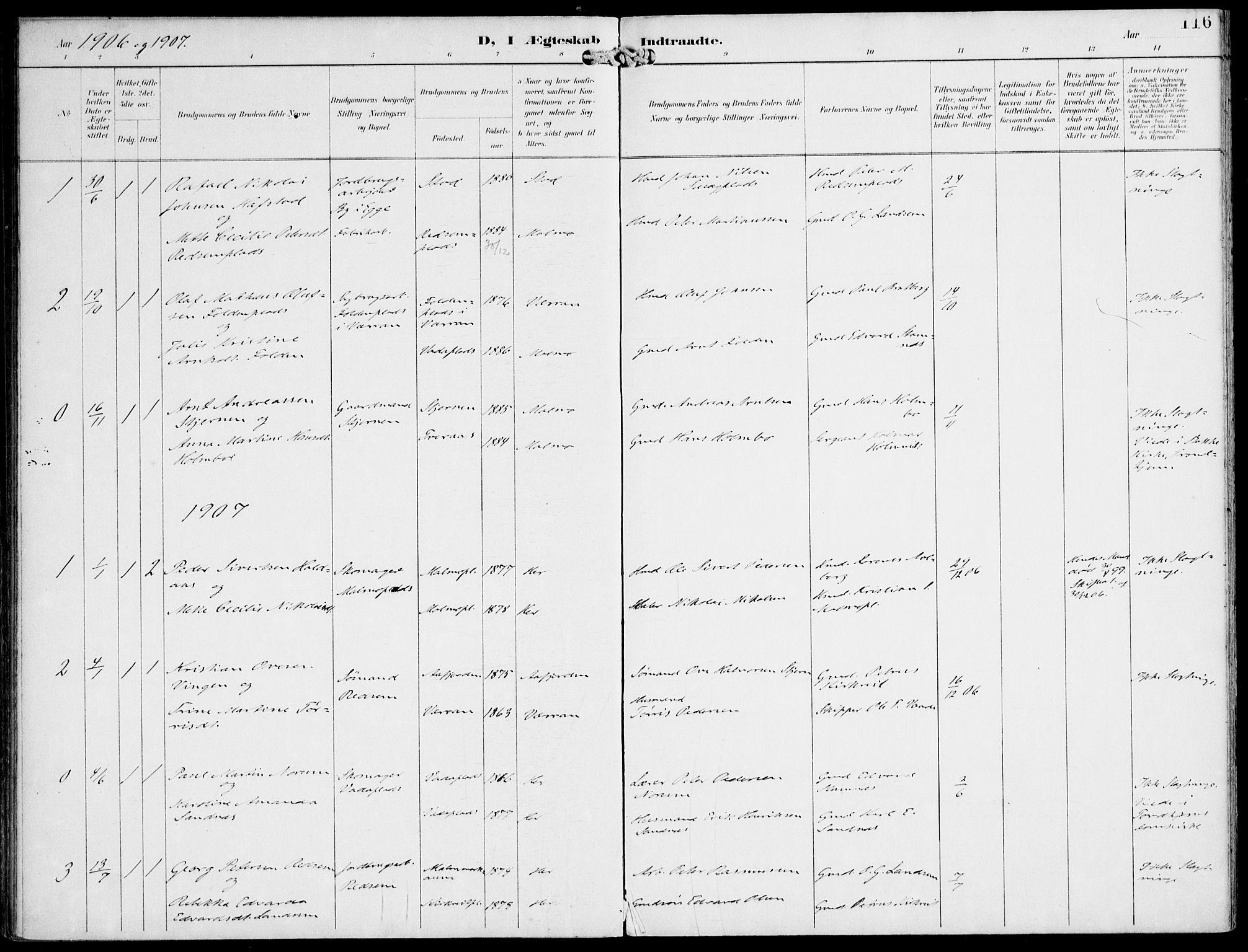SAT, Ministerialprotokoller, klokkerbøker og fødselsregistre - Nord-Trøndelag, 745/L0430: Ministerialbok nr. 745A02, 1895-1913, s. 116
