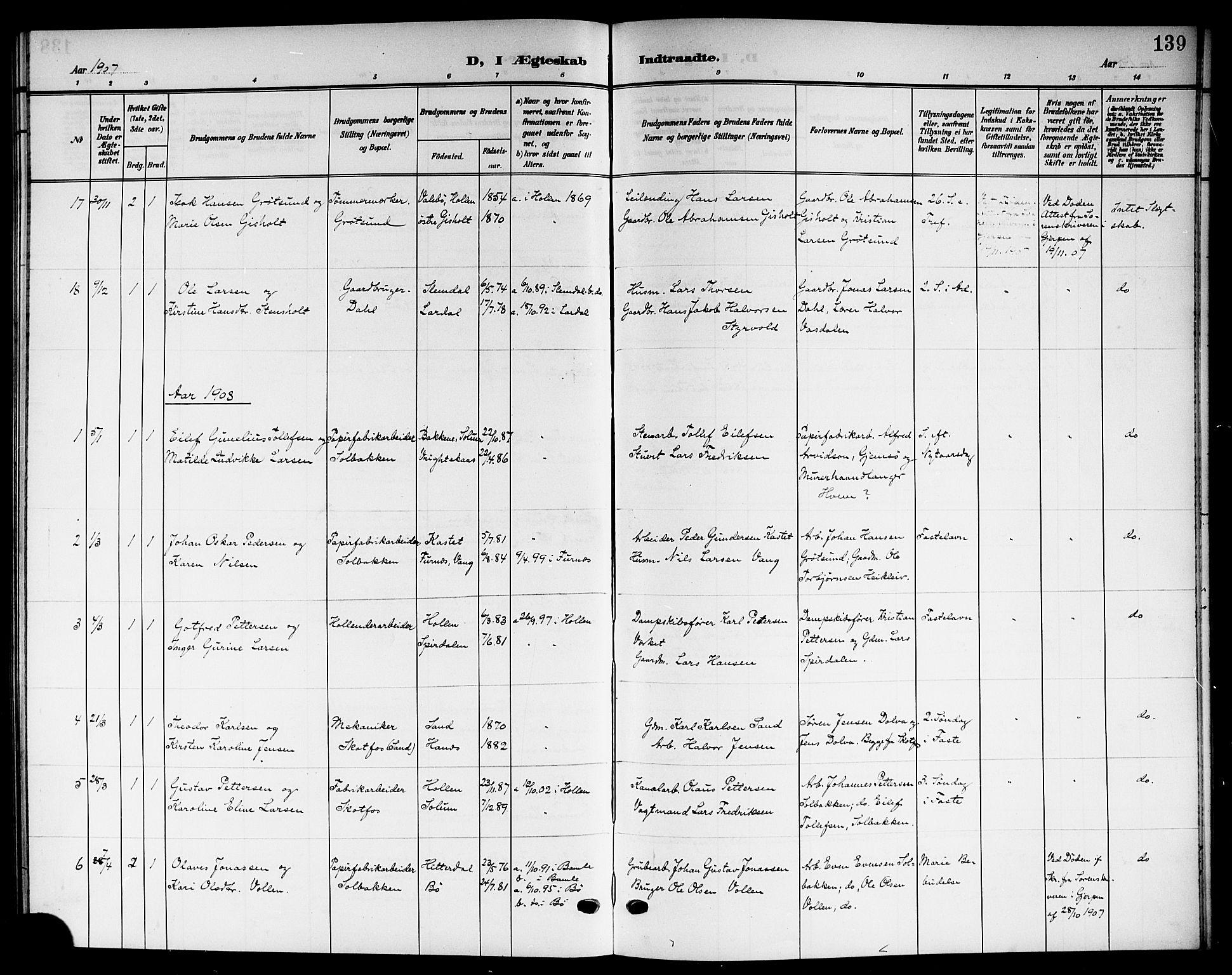 SAKO, Solum kirkebøker, G/Gb/L0005: Klokkerbok nr. II 5, 1905-1914, s. 139