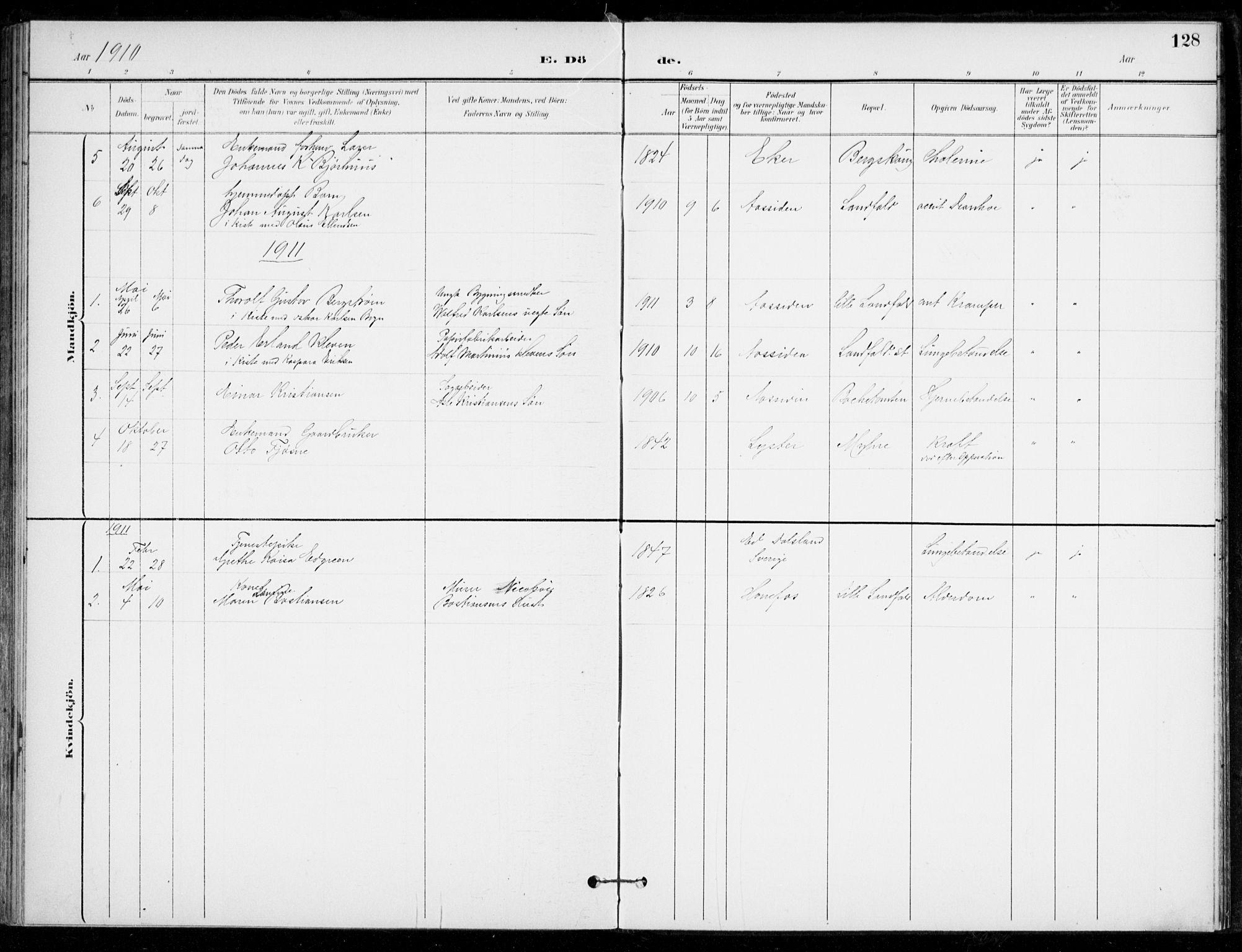 SAKO, Åssiden kirkebøker, F/Fa/L0002: Ministerialbok nr. 2, 1896-1916, s. 128