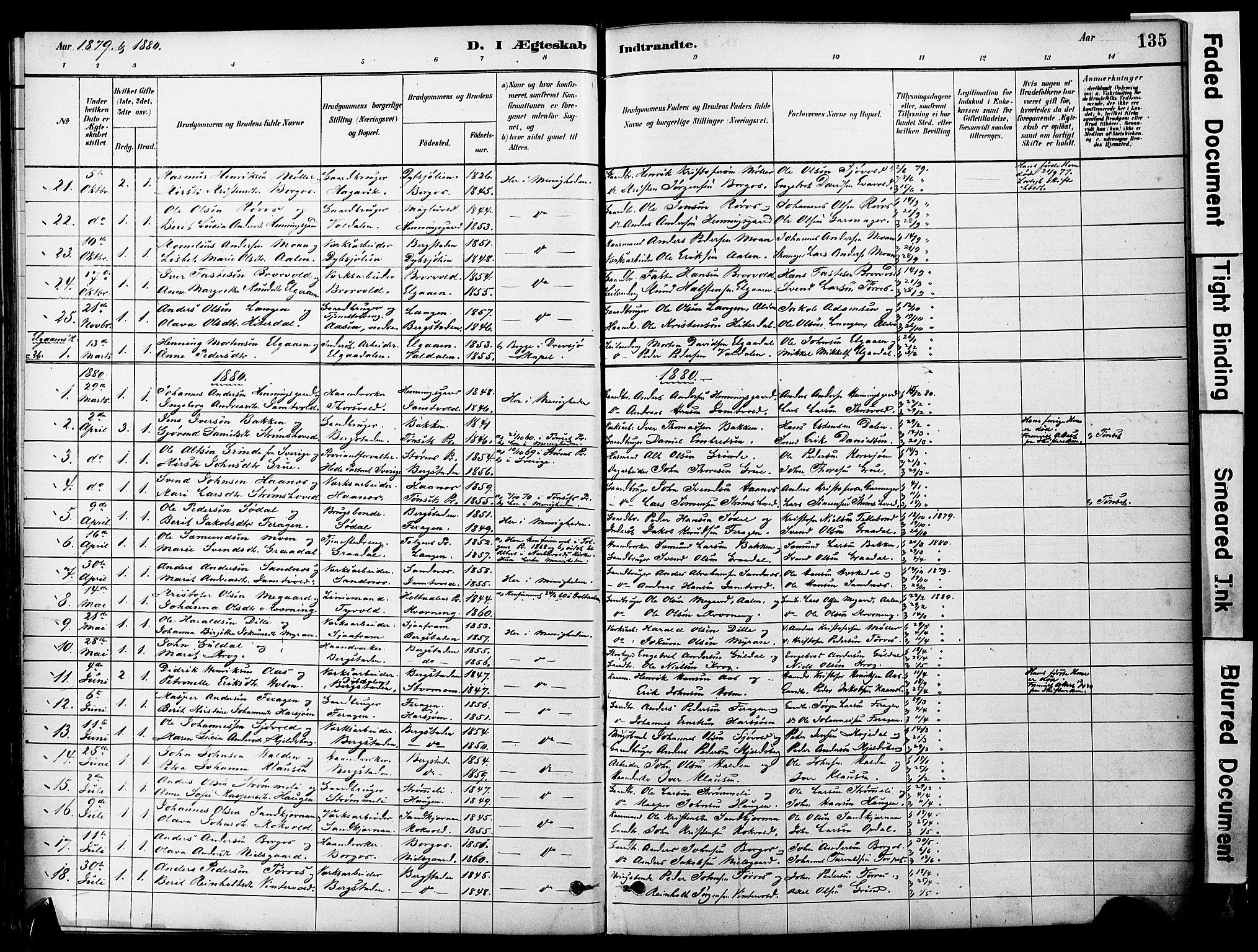 SAT, Ministerialprotokoller, klokkerbøker og fødselsregistre - Sør-Trøndelag, 681/L0933: Ministerialbok nr. 681A11, 1879-1890, s. 135