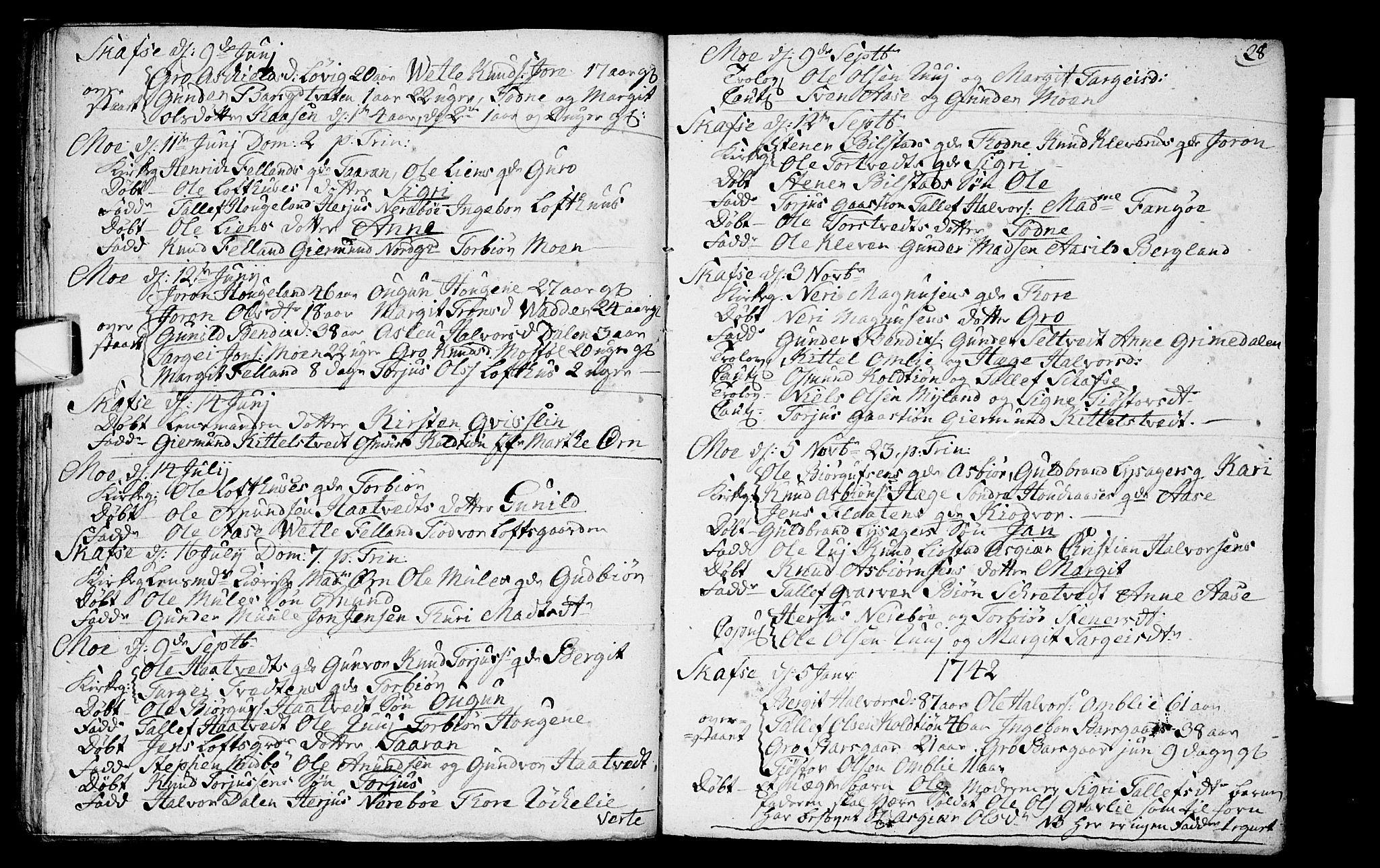 SAKO, Mo kirkebøker, F/Fa/L0001: Ministerialbok nr. I 1, 1724-1748, s. 28