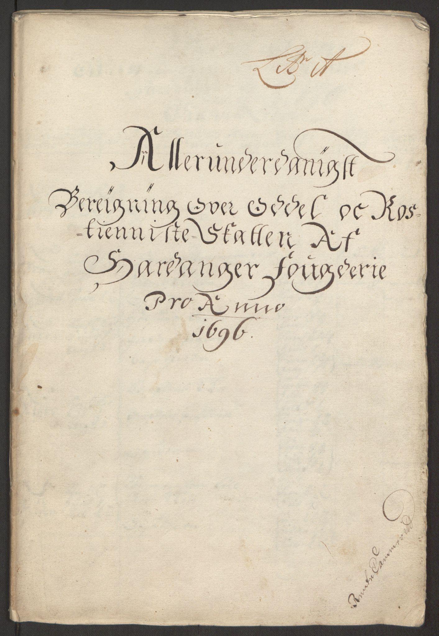 RA, Rentekammeret inntil 1814, Reviderte regnskaper, Fogderegnskap, R48/L2976: Fogderegnskap Sunnhordland og Hardanger, 1695-1696, s. 435