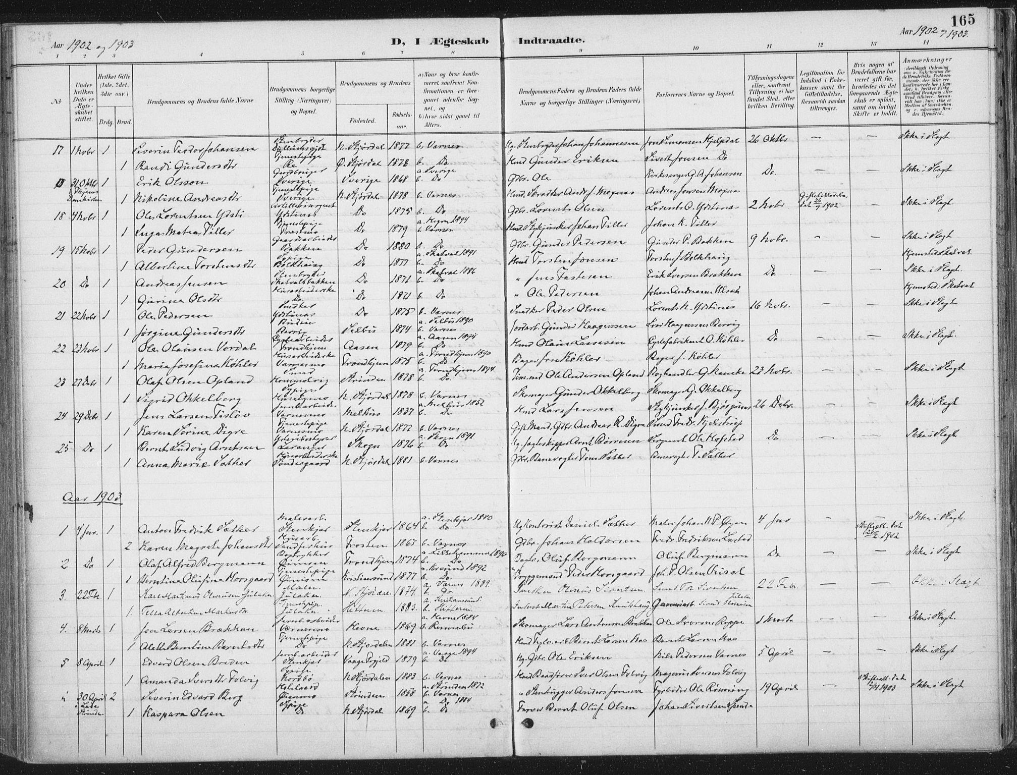 SAT, Ministerialprotokoller, klokkerbøker og fødselsregistre - Nord-Trøndelag, 709/L0082: Ministerialbok nr. 709A22, 1896-1916, s. 165