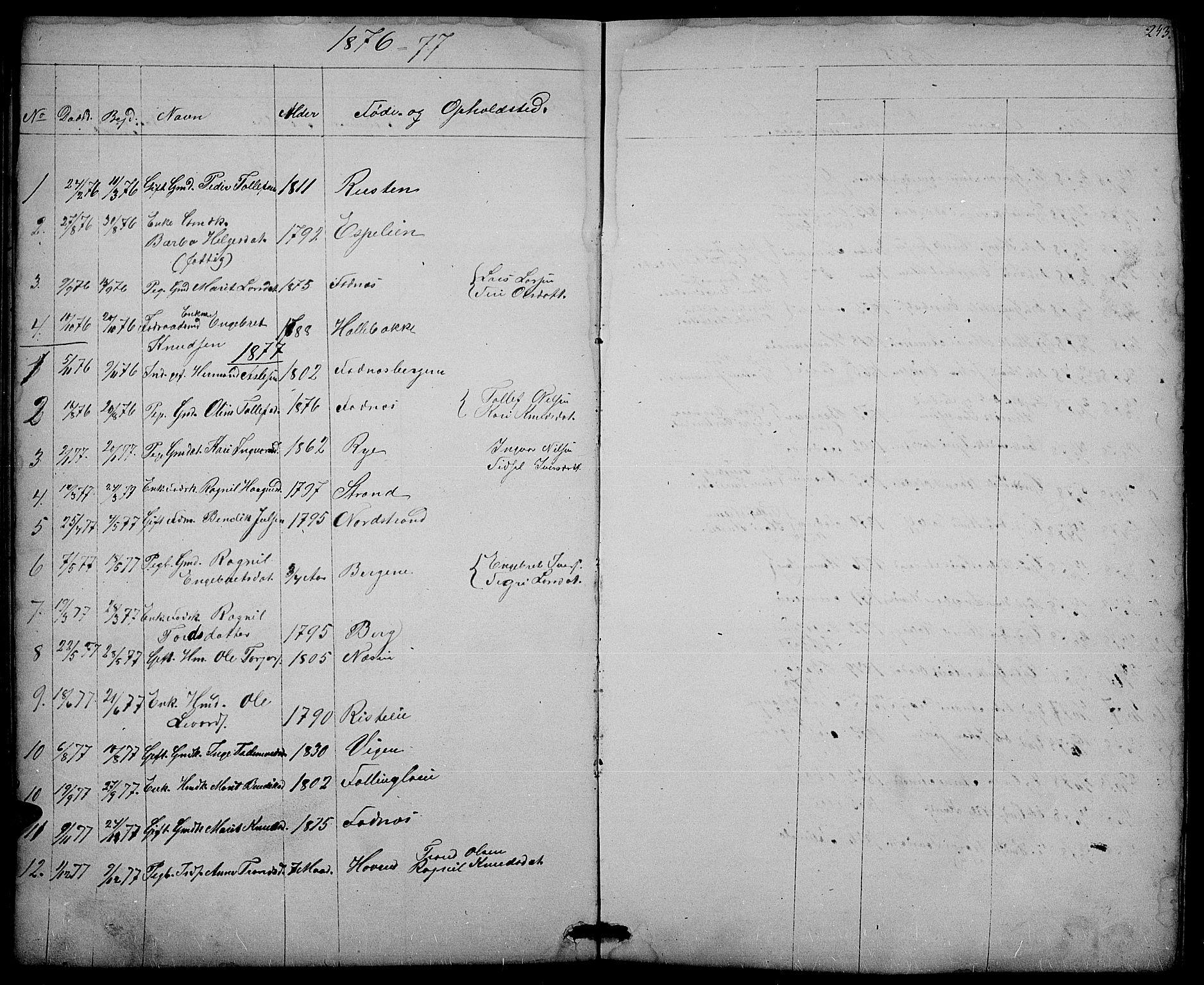 SAH, Nord-Aurdal prestekontor, Klokkerbok nr. 3, 1842-1882, s. 243
