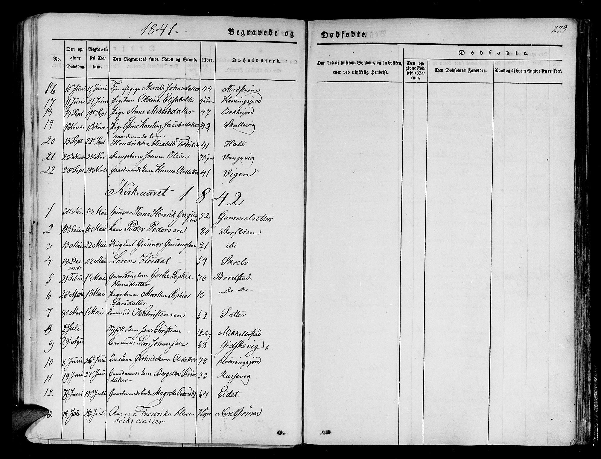 SATØ, Tranøy sokneprestkontor, I/Ia/Iaa/L0005kirke: Ministerialbok nr. 5, 1829-1844, s. 279