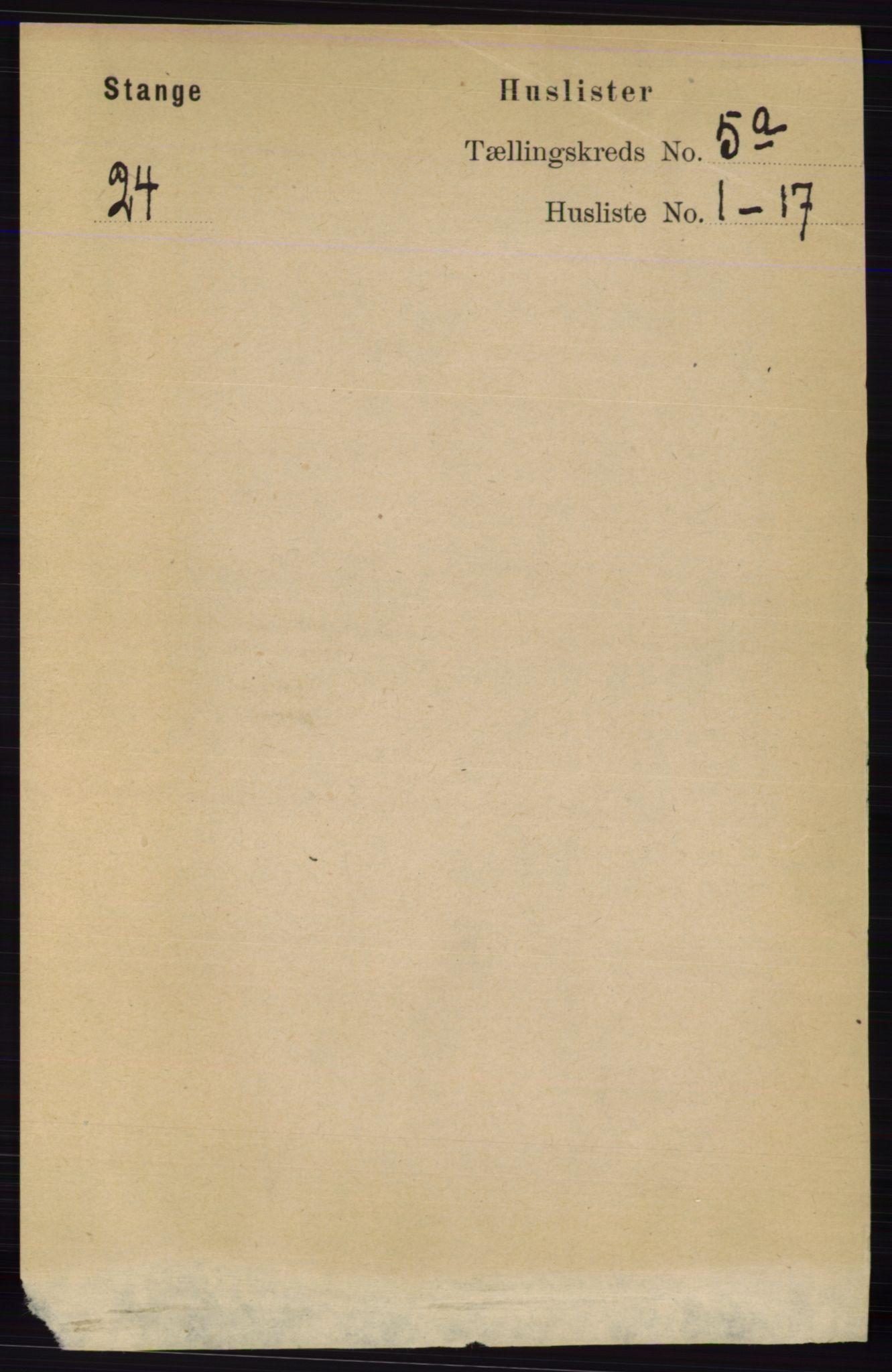 RA, Folketelling 1891 for 0417 Stange herred, 1891, s. 3742