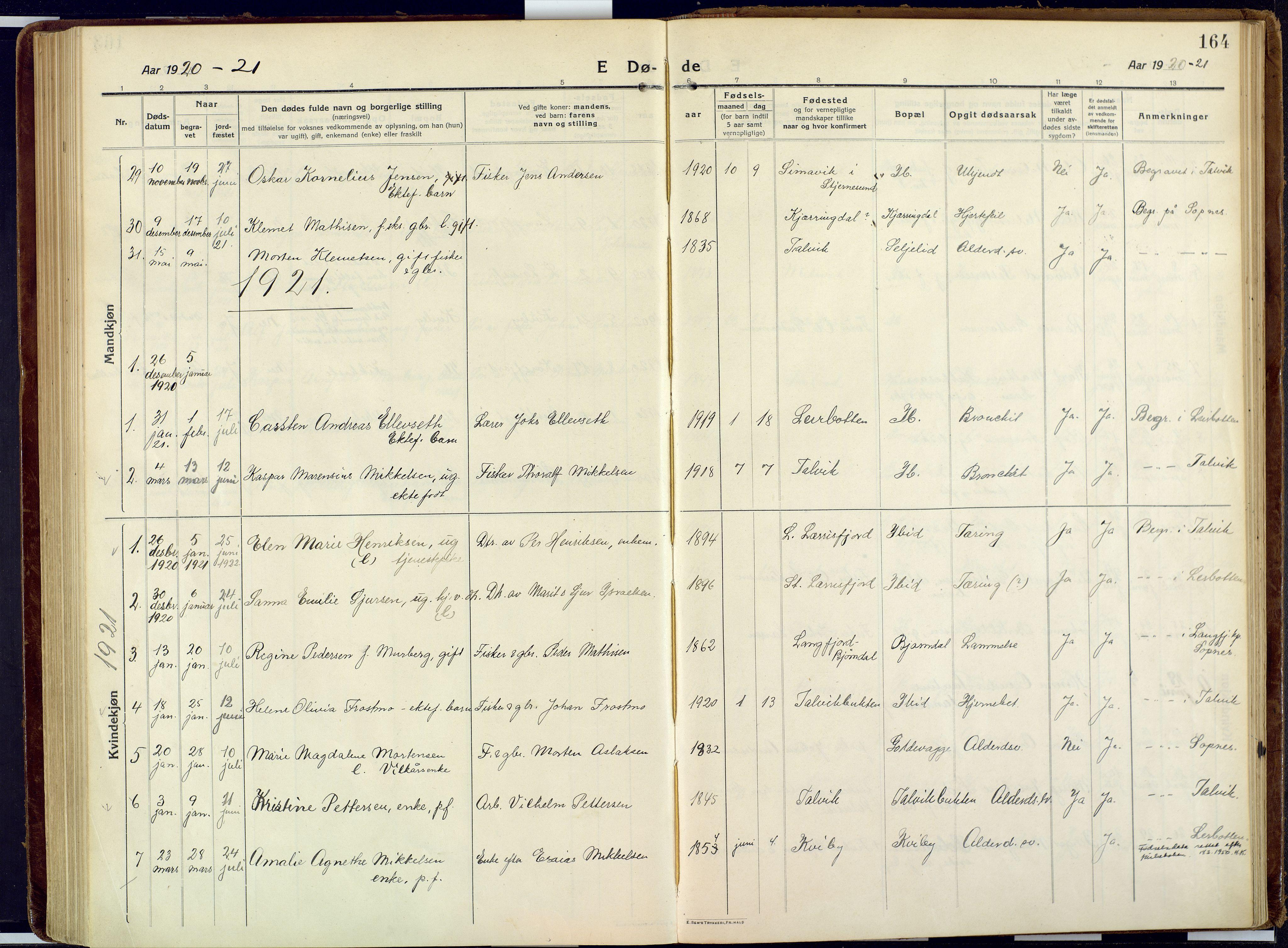 SATØ, Talvik sokneprestkontor, H/Ha/L0018kirke: Ministerialbok nr. 18, 1915-1924, s. 164