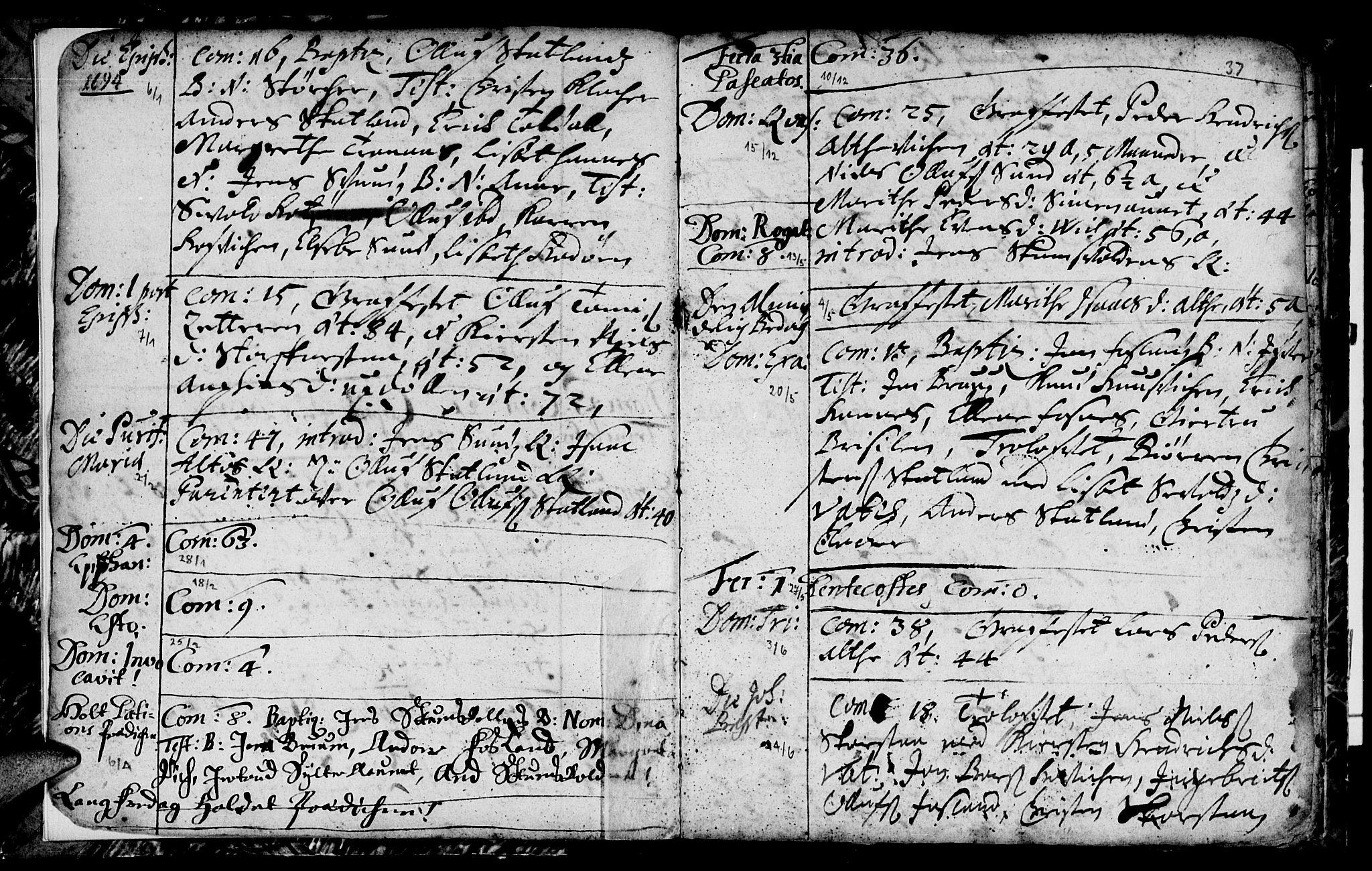 SAT, Ministerialprotokoller, klokkerbøker og fødselsregistre - Nord-Trøndelag, 774/L0627: Ministerialbok nr. 774A01, 1693-1738, s. 36-37