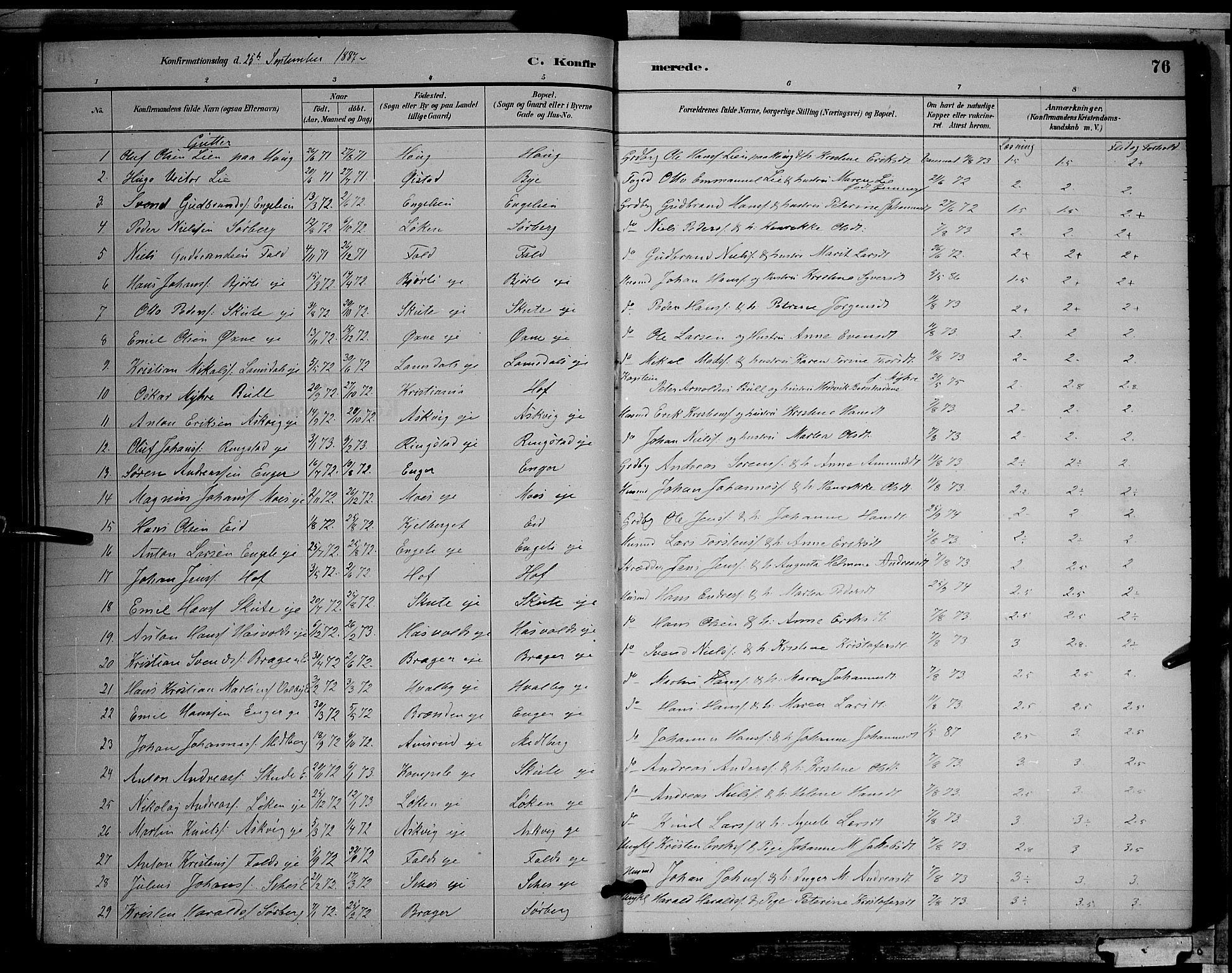 SAH, Søndre Land prestekontor, L/L0002: Klokkerbok nr. 2, 1884-1900, s. 76