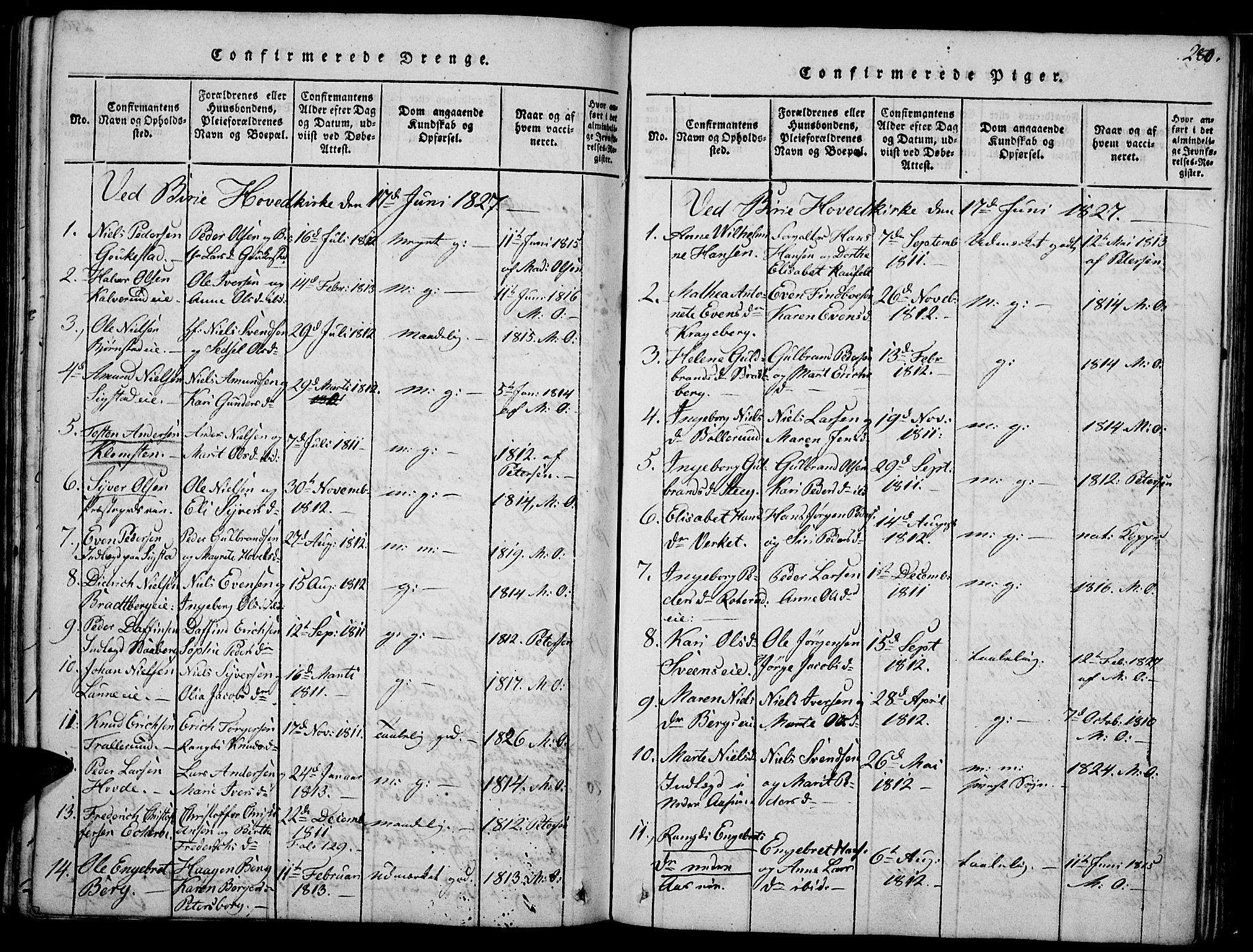 SAH, Biri prestekontor, Ministerialbok nr. 3, 1814-1828, s. 280