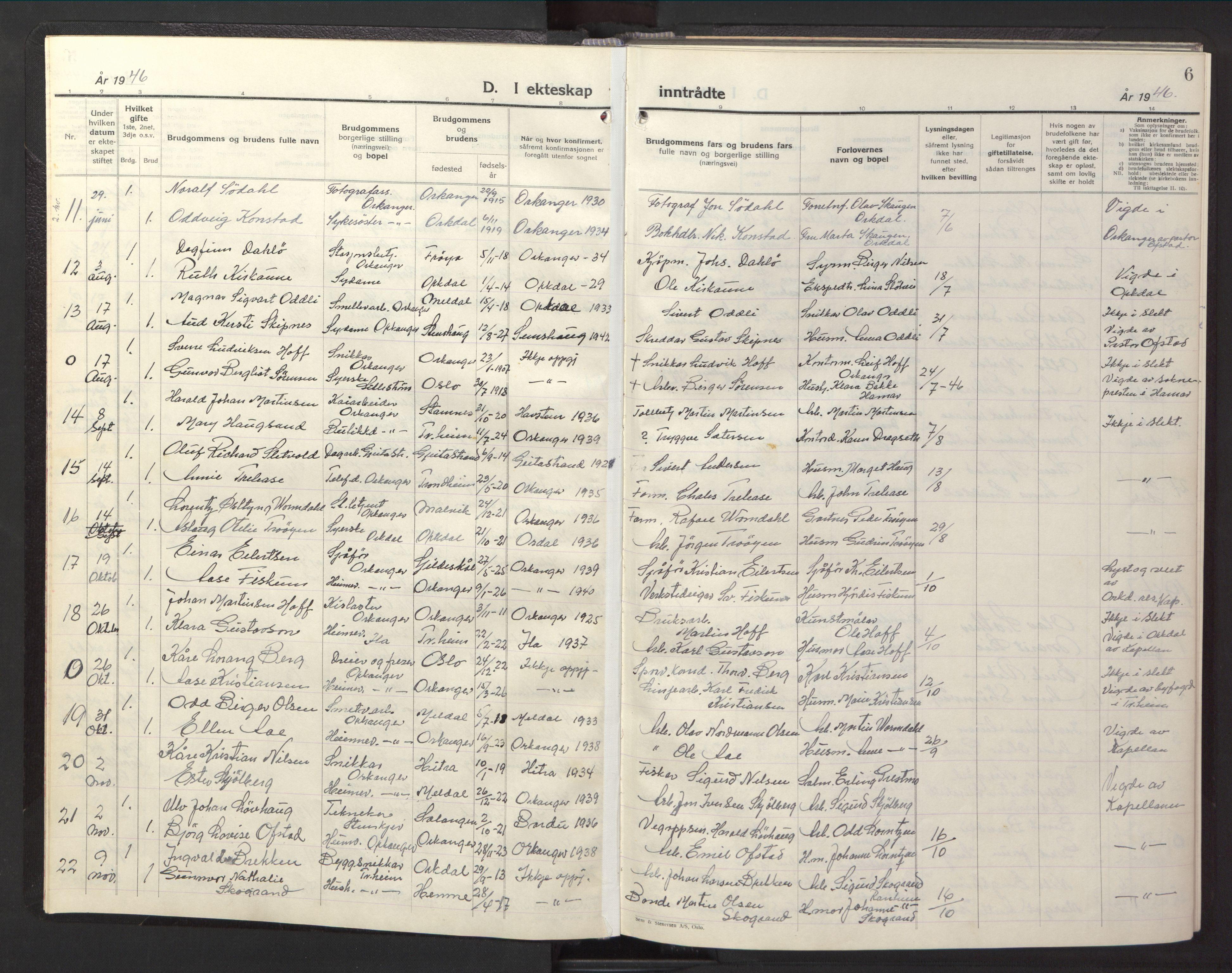 SAT, Ministerialprotokoller, klokkerbøker og fødselsregistre - Sør-Trøndelag, 669/L0833: Klokkerbok nr. 669C03, 1945-1950, s. 6