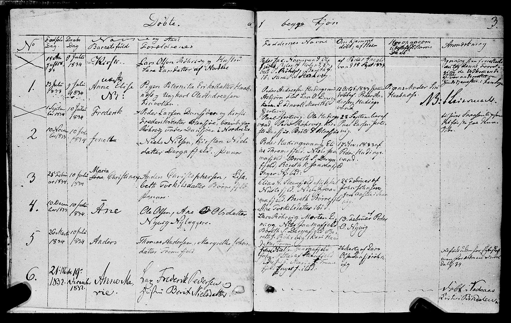 SAT, Ministerialprotokoller, klokkerbøker og fødselsregistre - Nord-Trøndelag, 762/L0538: Ministerialbok nr. 762A02 /1, 1833-1879, s. 3