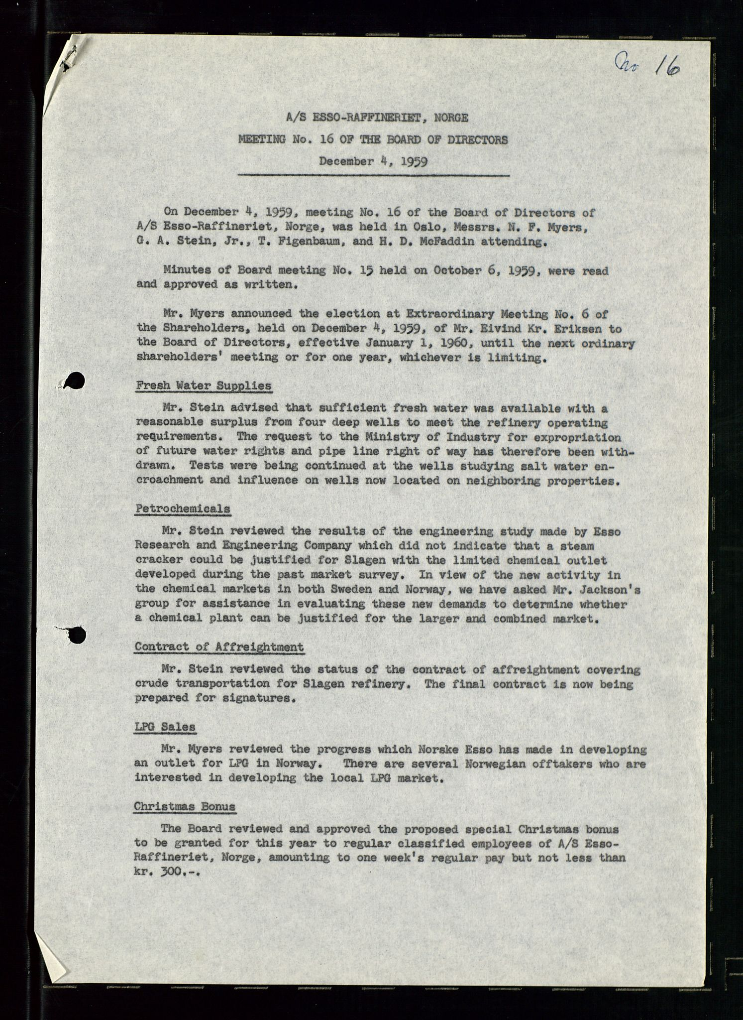 SAST, PA 1537 - A/S Essoraffineriet Norge, A/Aa/L0001: Styremøter, 1959-1961, s. 197