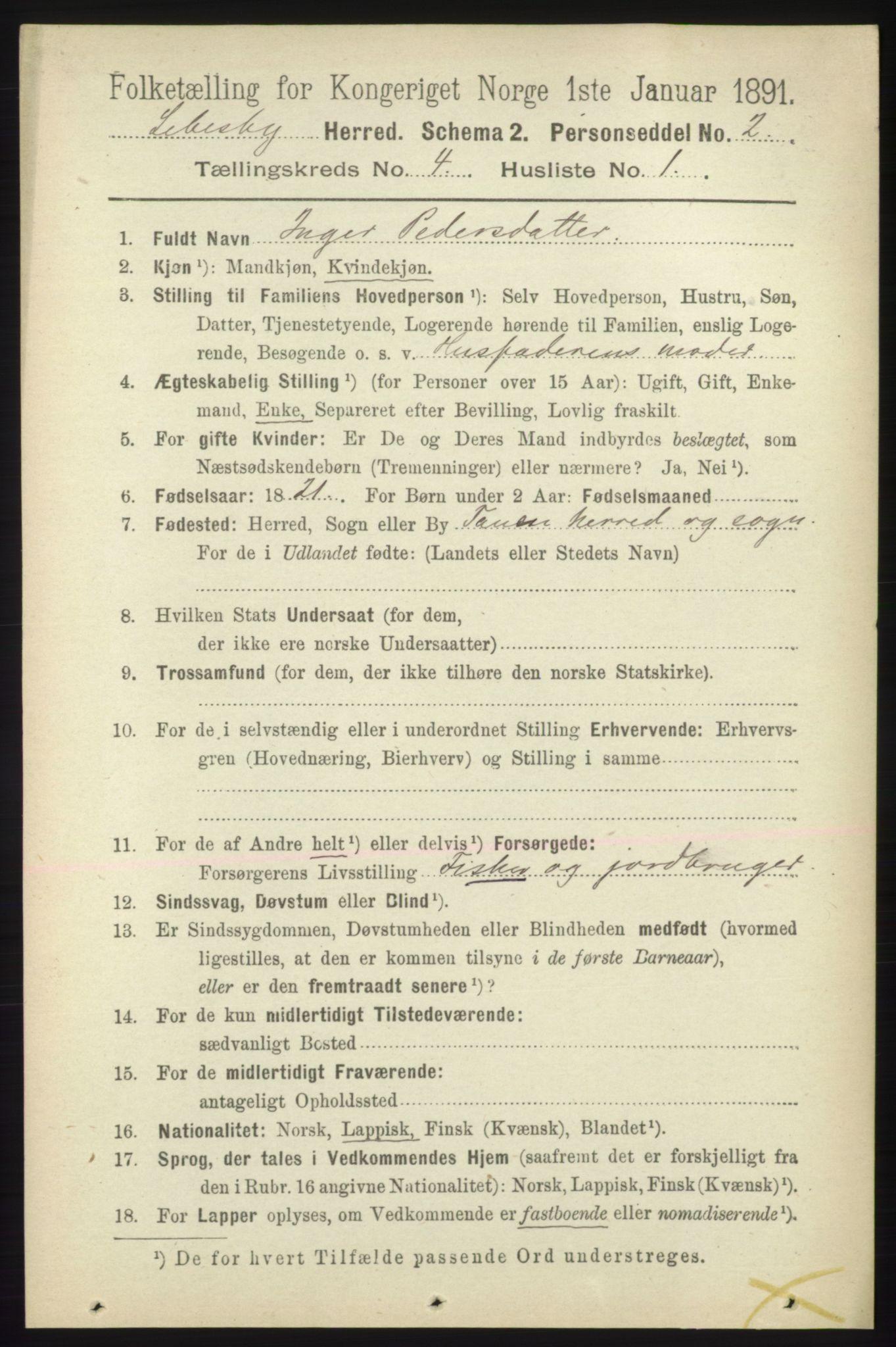 RA, Folketelling 1891 for 2022 Lebesby herred, 1891, s. 1078
