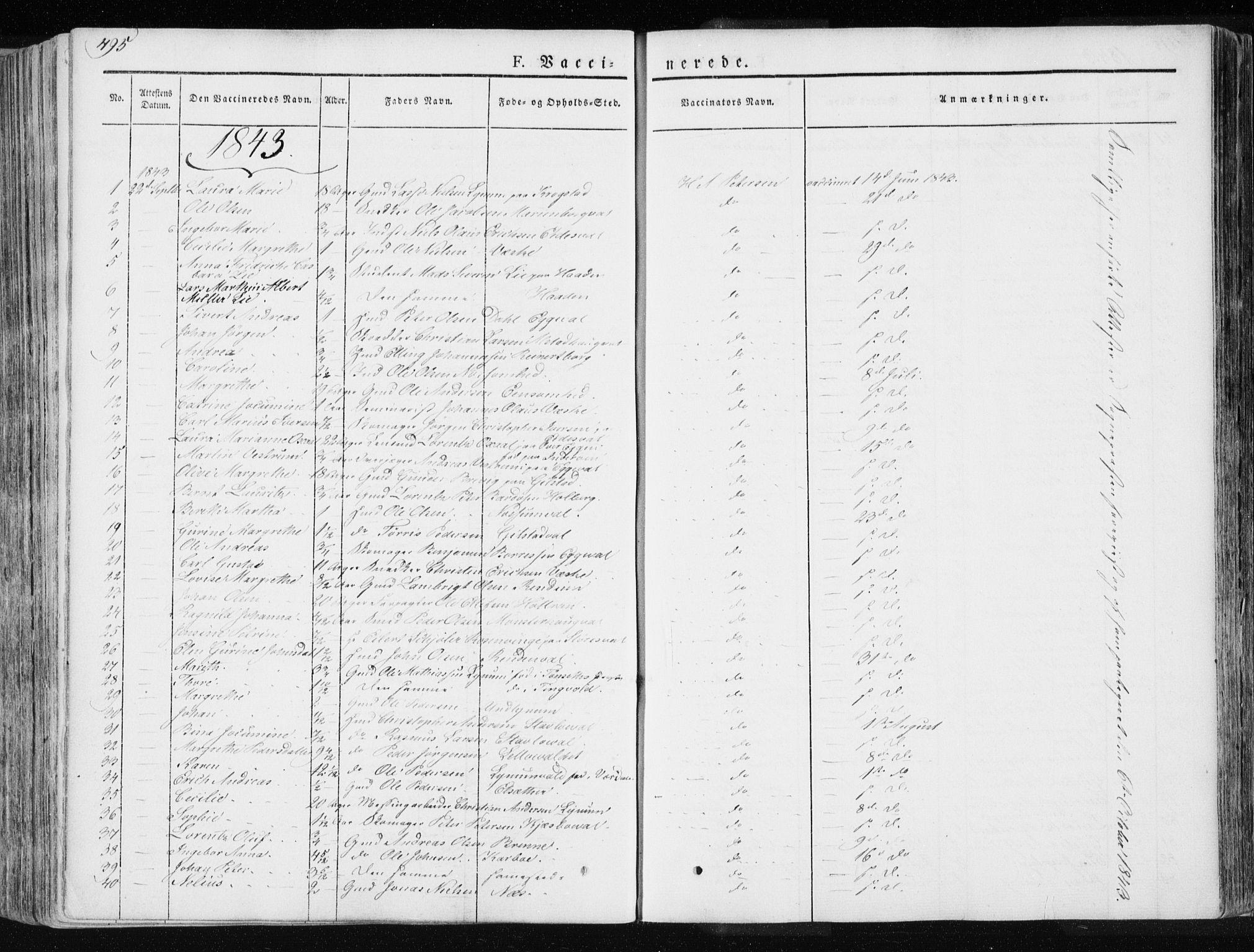 SAT, Ministerialprotokoller, klokkerbøker og fødselsregistre - Nord-Trøndelag, 717/L0154: Ministerialbok nr. 717A06 /1, 1836-1849, s. 495