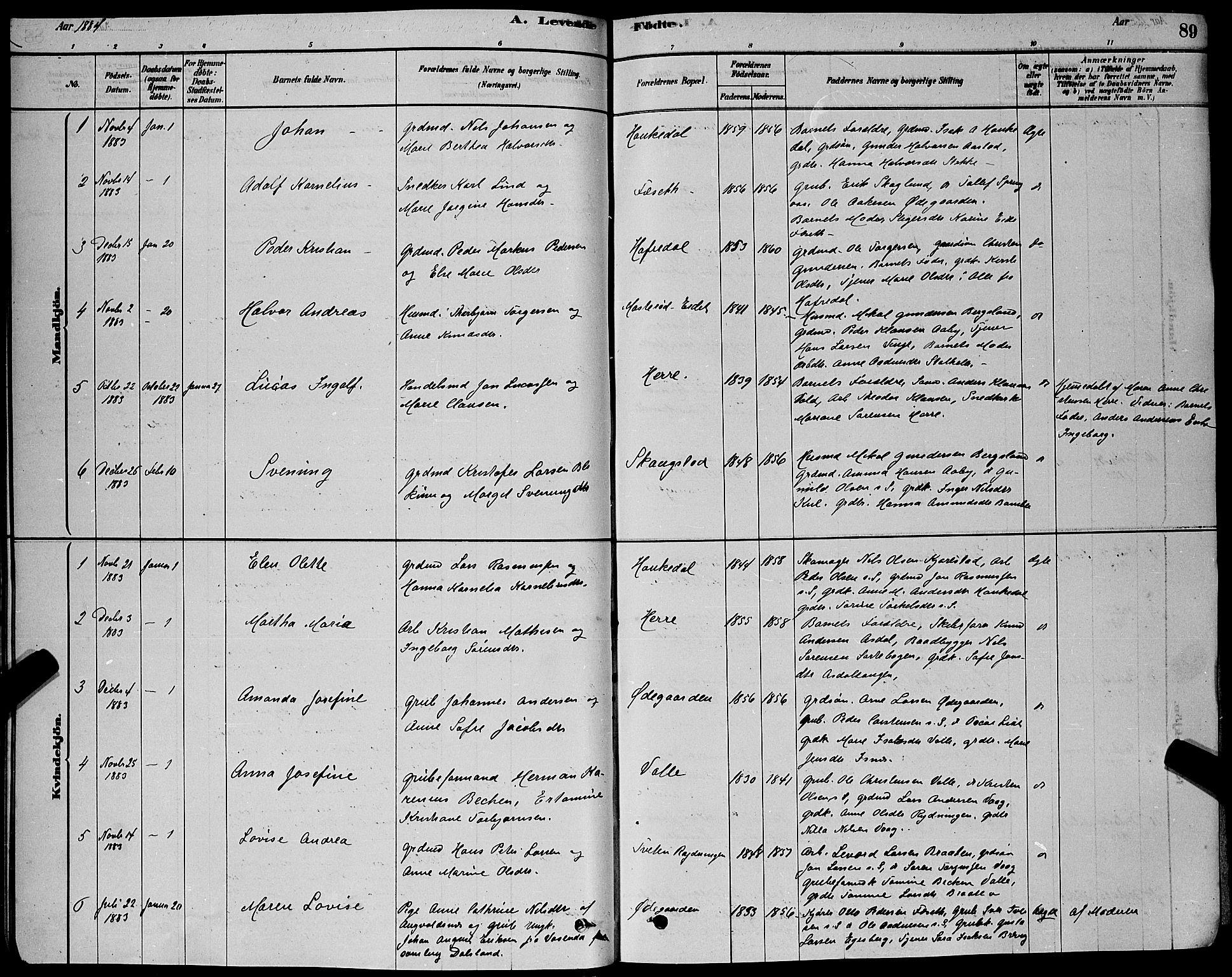 SAKO, Bamble kirkebøker, G/Ga/L0008: Klokkerbok nr. I 8, 1878-1888, s. 89