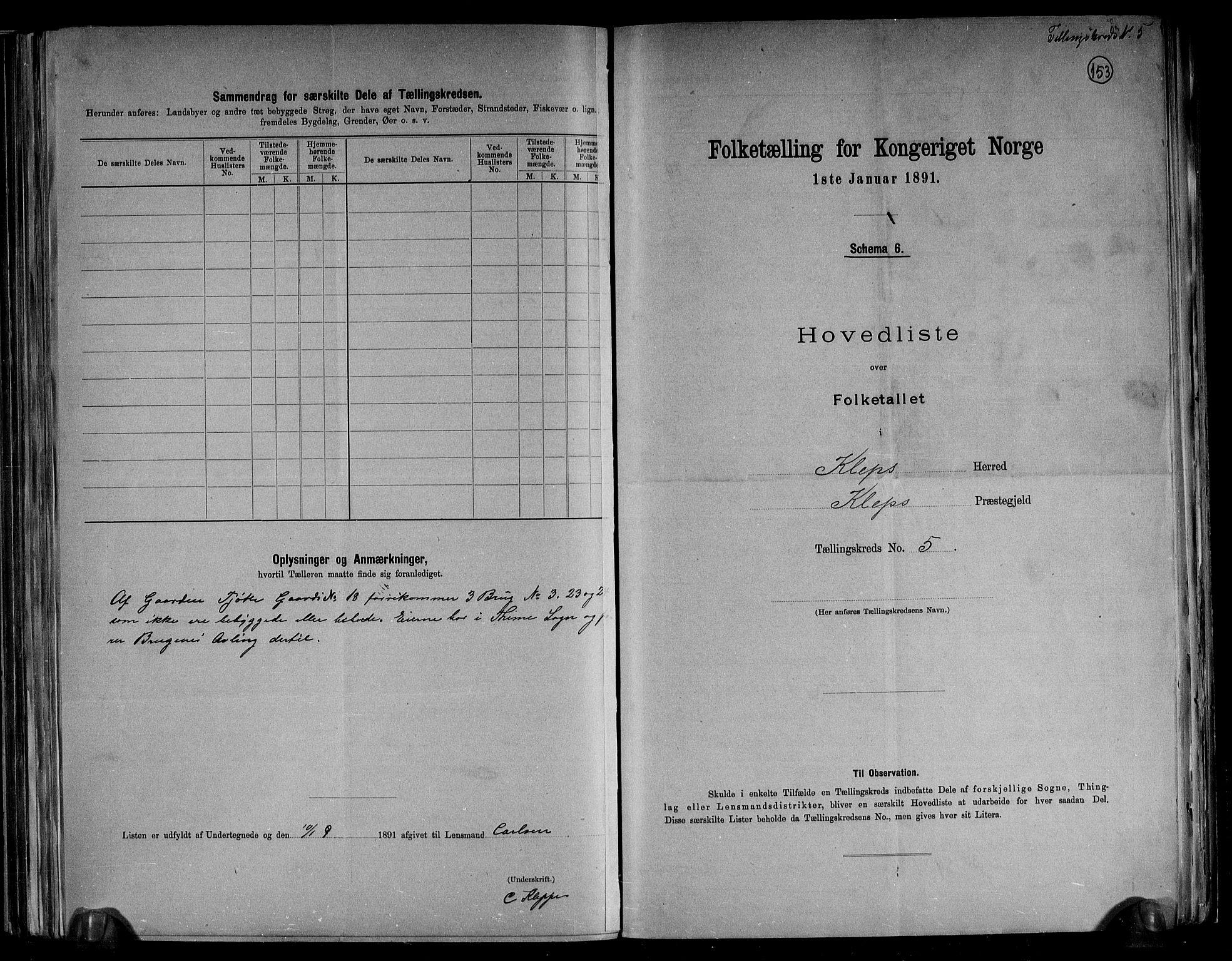 RA, Folketelling 1891 for 1120 Klepp herred, 1891, s. 14