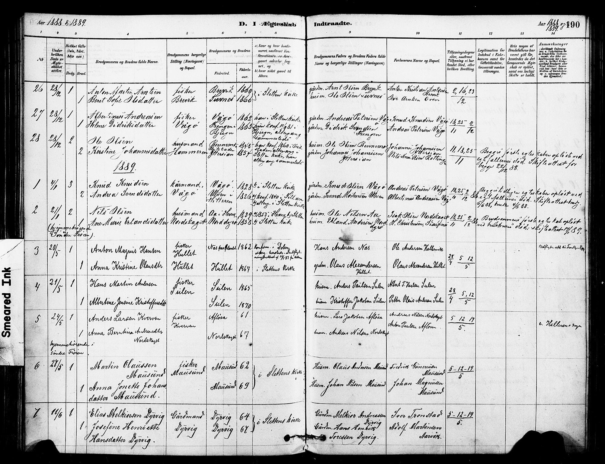 SAT, Ministerialprotokoller, klokkerbøker og fødselsregistre - Sør-Trøndelag, 640/L0578: Ministerialbok nr. 640A03, 1879-1889, s. 190