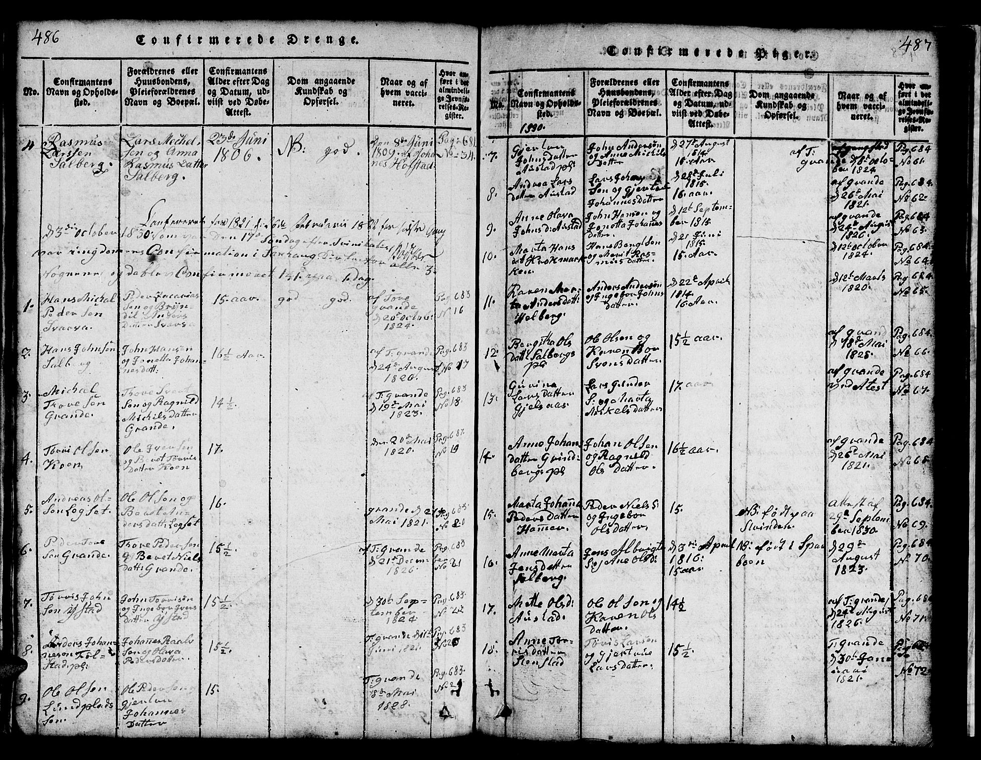 SAT, Ministerialprotokoller, klokkerbøker og fødselsregistre - Nord-Trøndelag, 731/L0310: Klokkerbok nr. 731C01, 1816-1874, s. 486-487