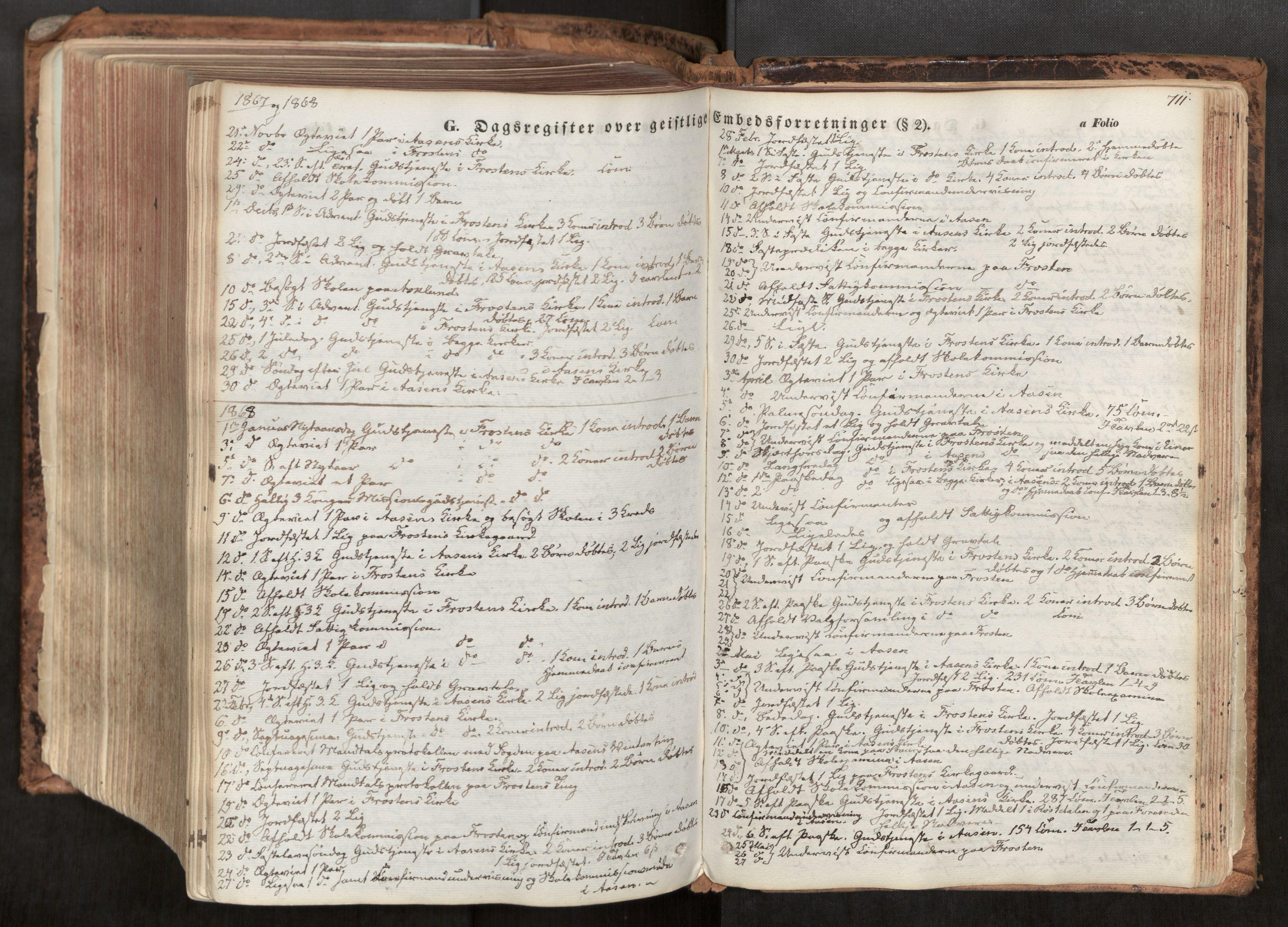 SAT, Ministerialprotokoller, klokkerbøker og fødselsregistre - Nord-Trøndelag, 713/L0116: Ministerialbok nr. 713A07, 1850-1877, s. 711